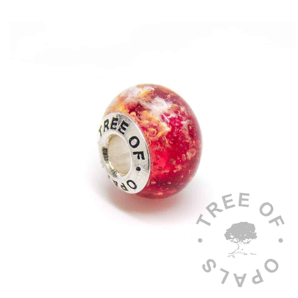 red glass cremation charm ashes, solid sterling silver core for Pandora bracelets, memorial jewellery by Tree of Opals