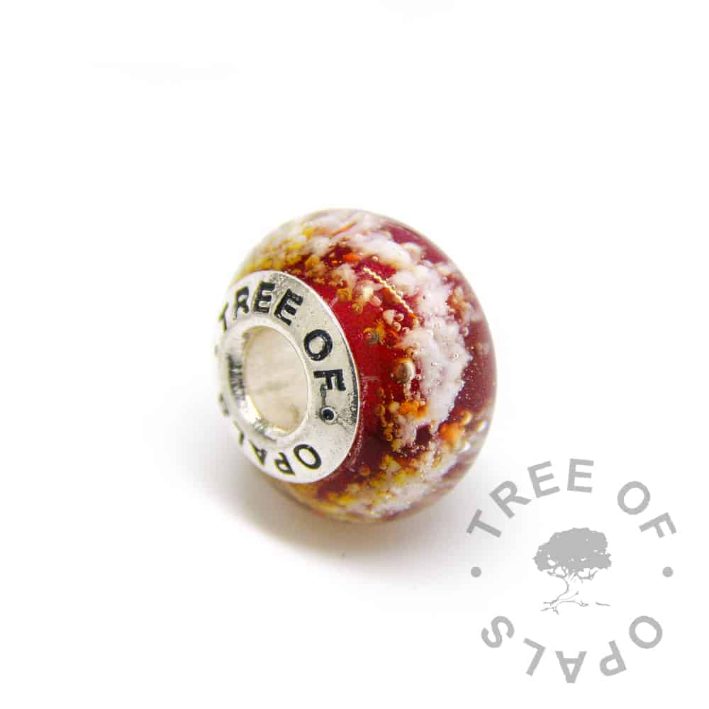 lampwork glass cremation charm with solid silver Tree of Opals core