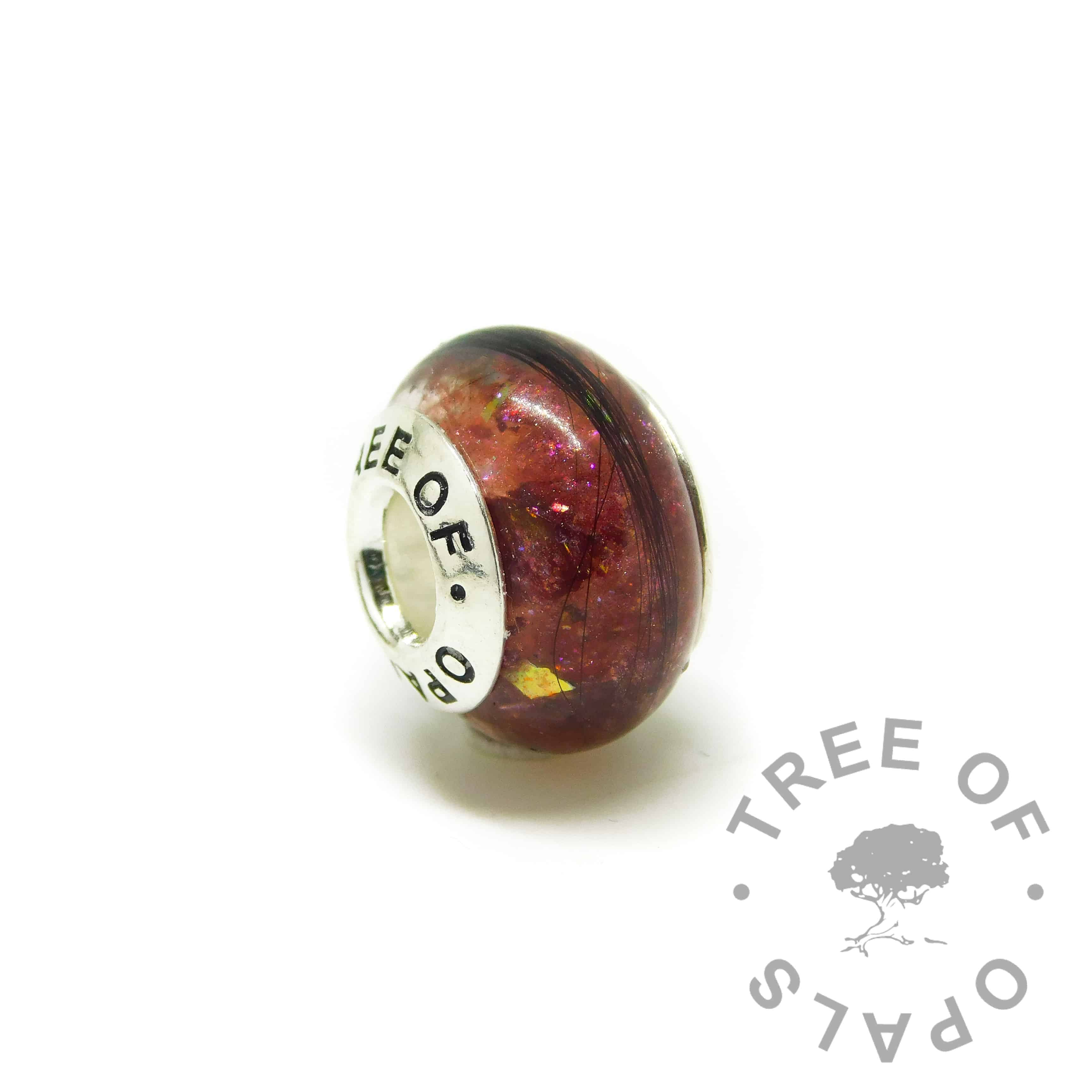 hair charm with Tree of Opals core, dragon's blood red resin sparkle mix lock of hair charm bead