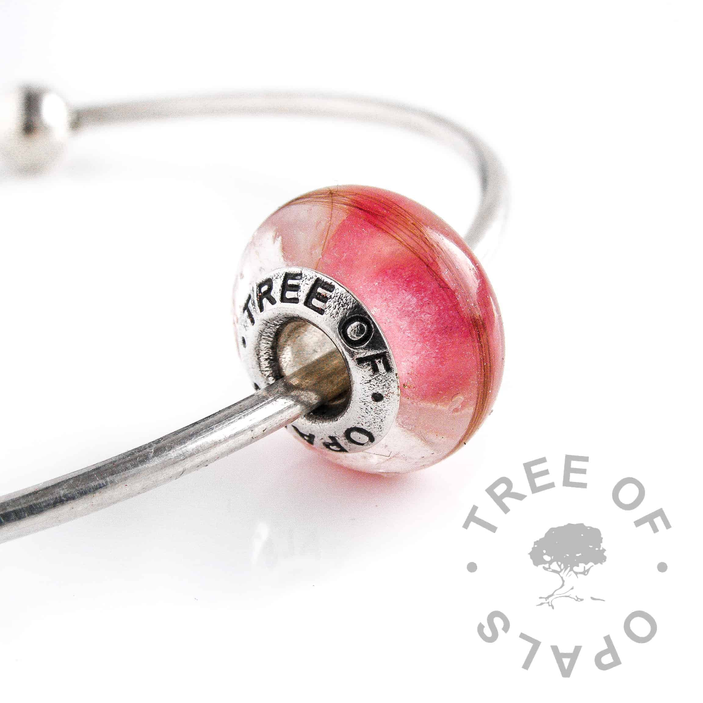 first curl charm bead pink core