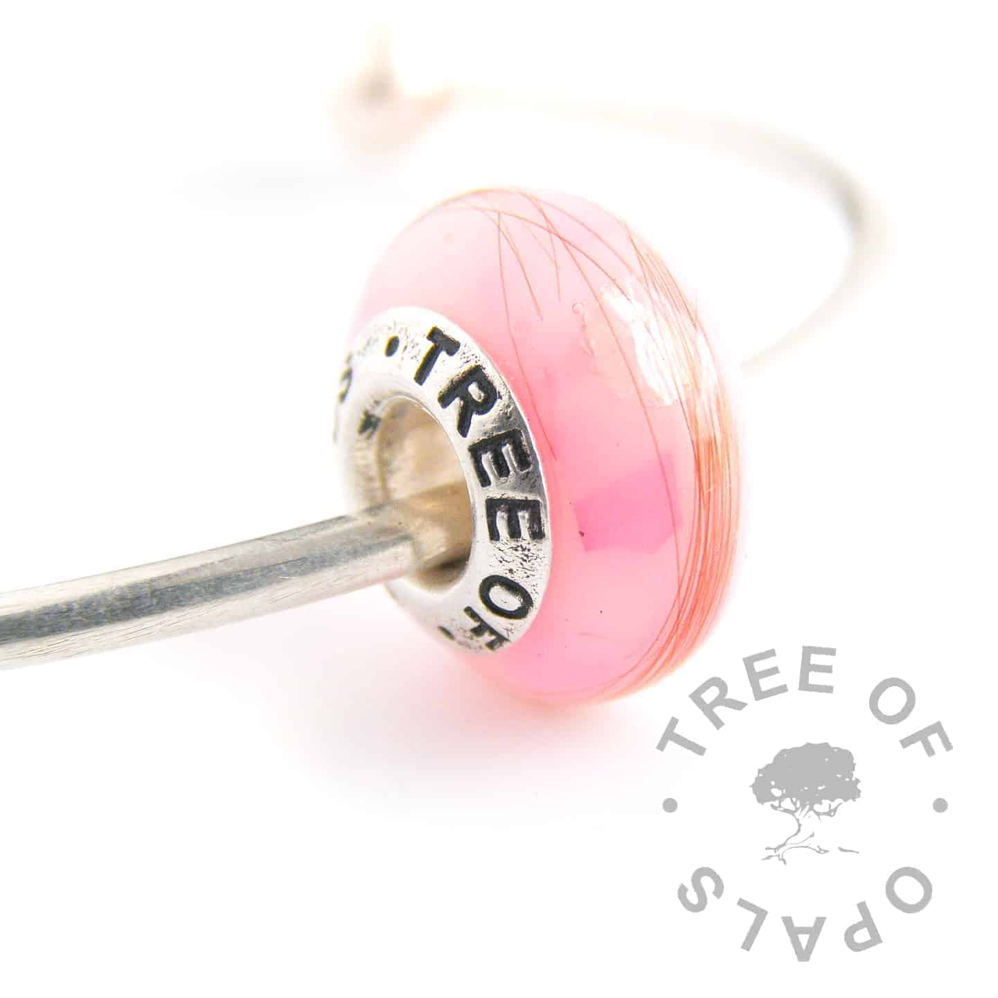 lock of hair breastmilk charm bead pink opalescent flakes snow diamond