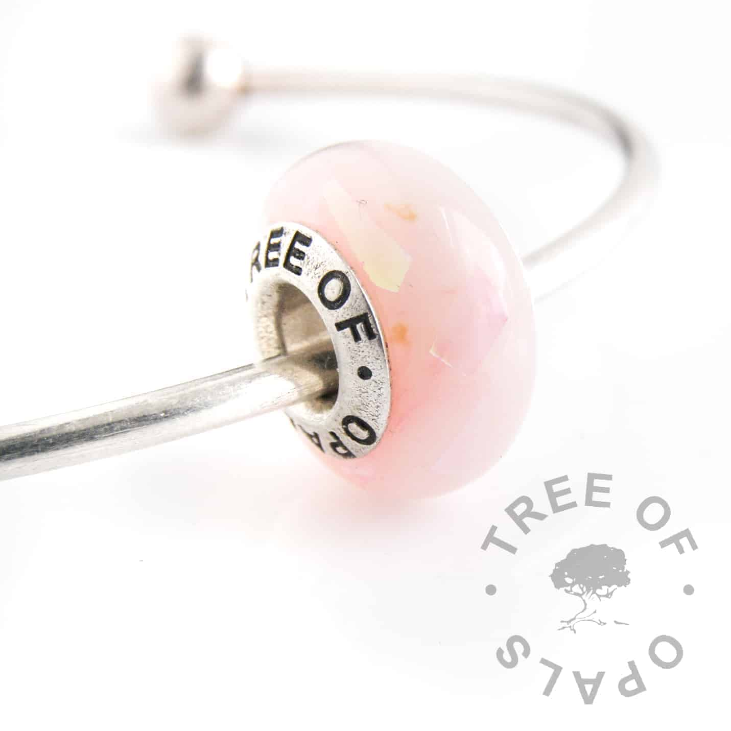 breastmilk charm bead pink opalescent flakes