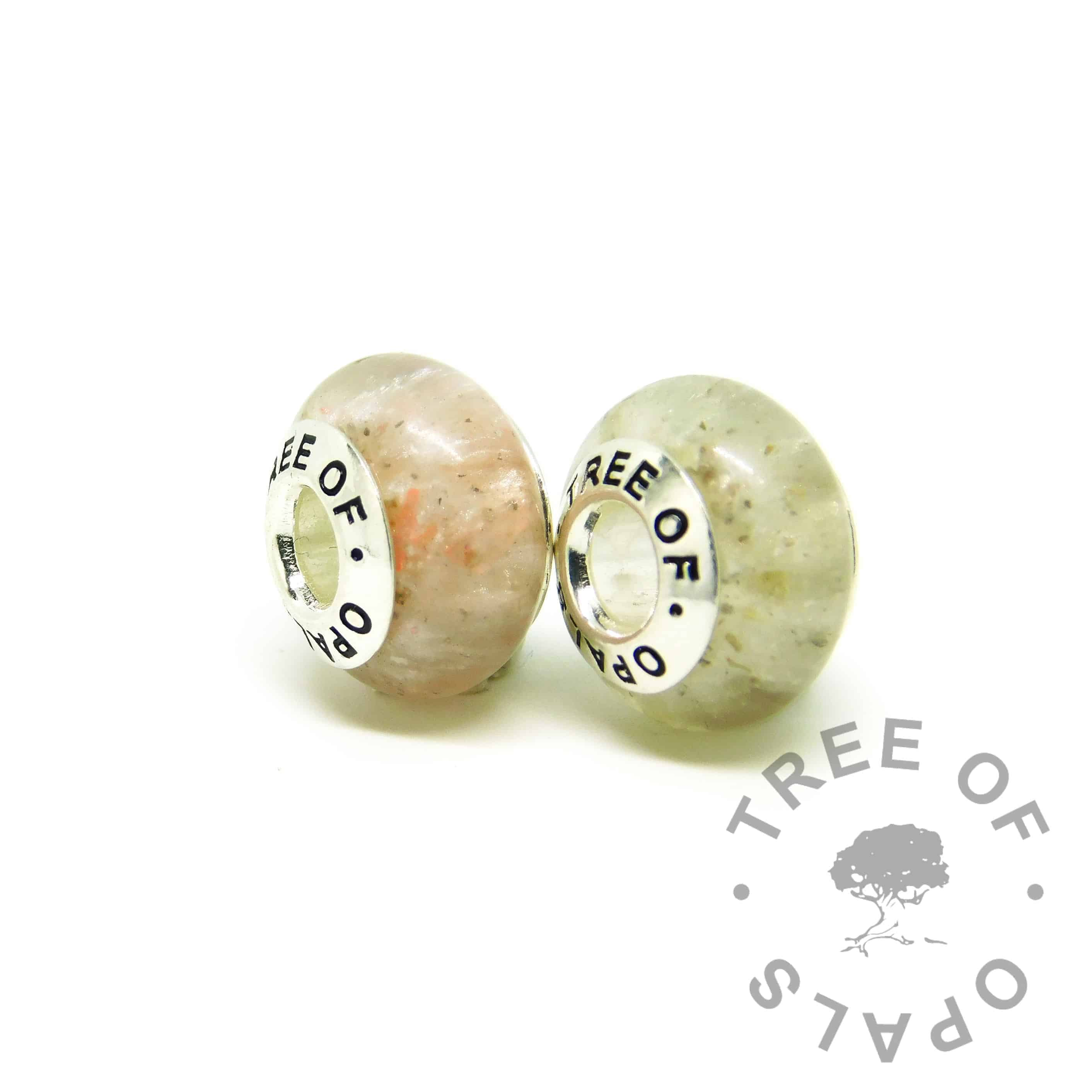 ashes jewellery charms - set of two resin charm beads in pink and classic ashes