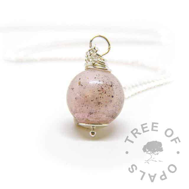 breastmilk and cremation ashes pearl with lemonade pink shimmer powder