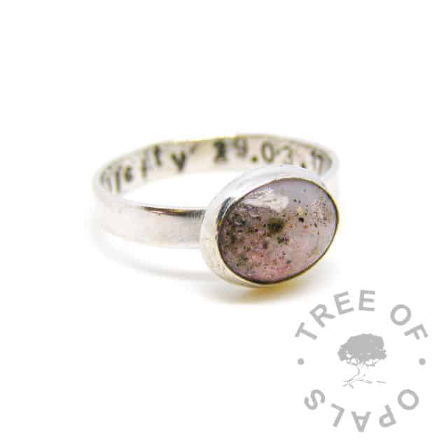 breastmilk and cremation ashes ring with lemonade pink shimmer powder, on brushed stamped band