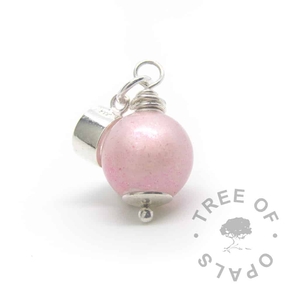 fairy pink breastmilk pearl dangle charm European charm tube setting, 11mm pearl with solid sterling silver