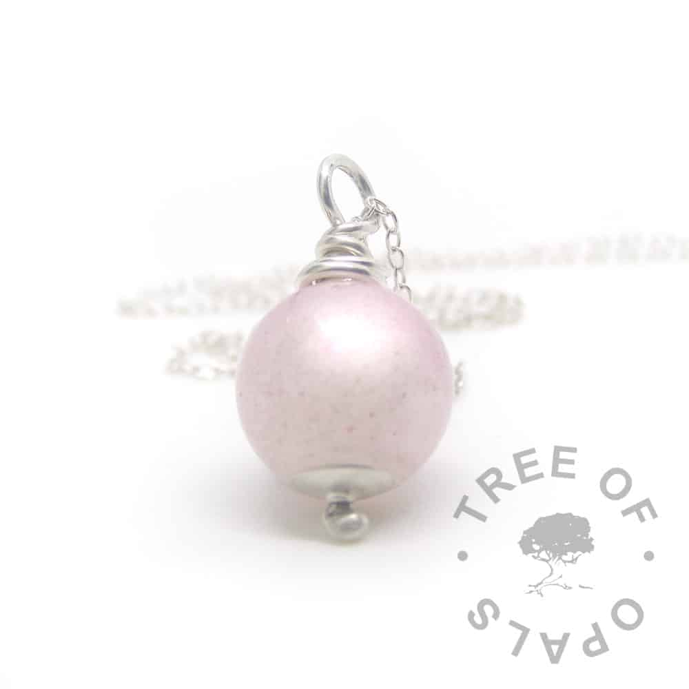 "fairy pink breastmilk pearl necklace, 11mm pearl with solid sterling silver wire wrapped bail and light 20"" chain"