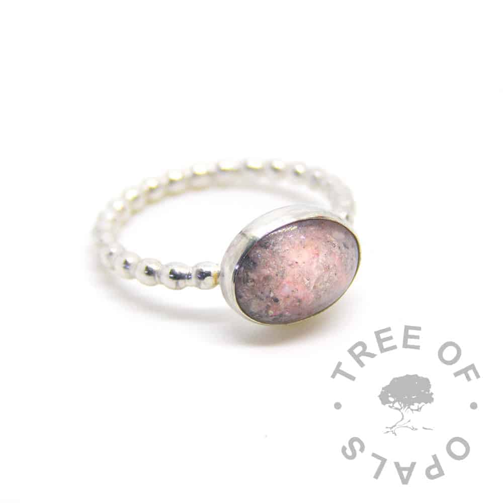 fairy pink cremation ash ring bubble wire