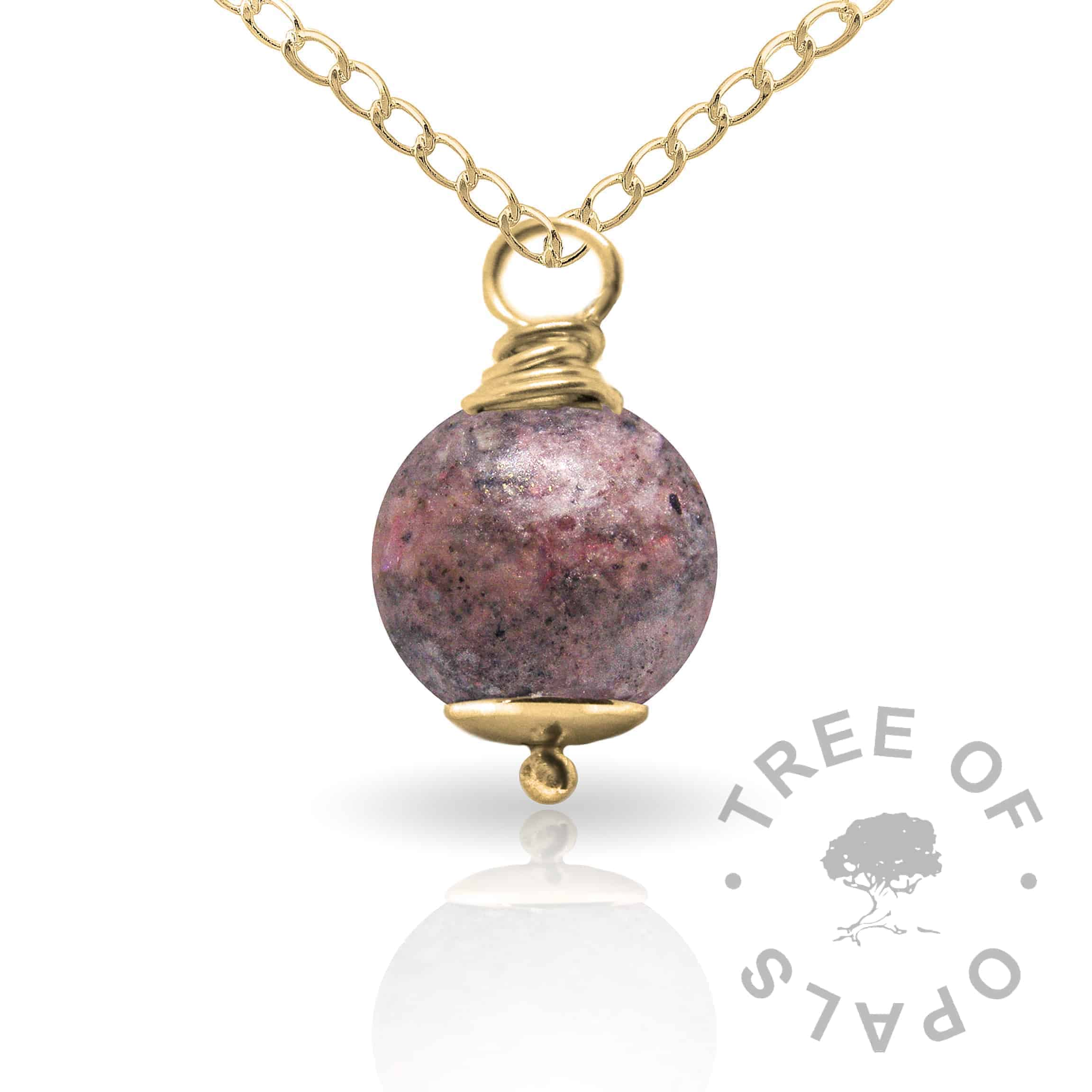 fairy pink gold cremation ash pearl Tree of Opals memorial jewellery