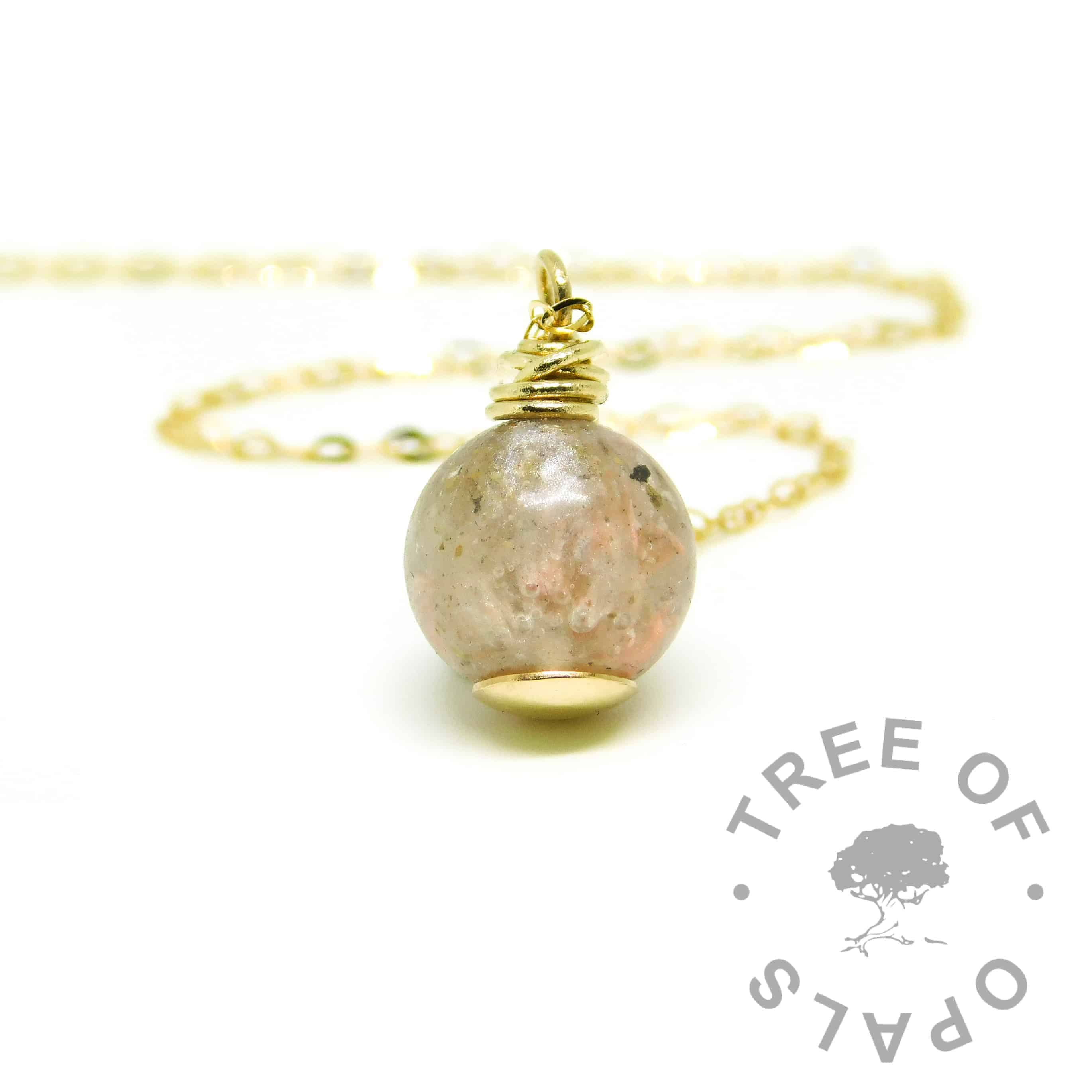ashes necklace fairy pink resin, hand wire wrapped cremation ashes orb with solid 9ct gold setting