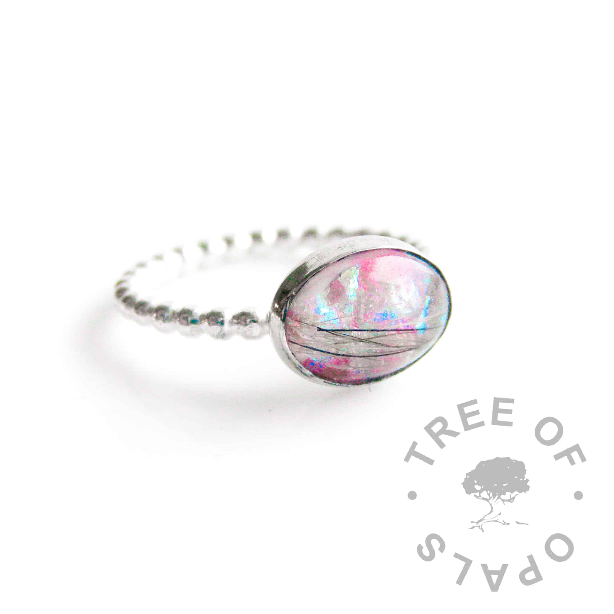 lock of hair ring with fur and pink opalescent flakes, bubble wire ring band