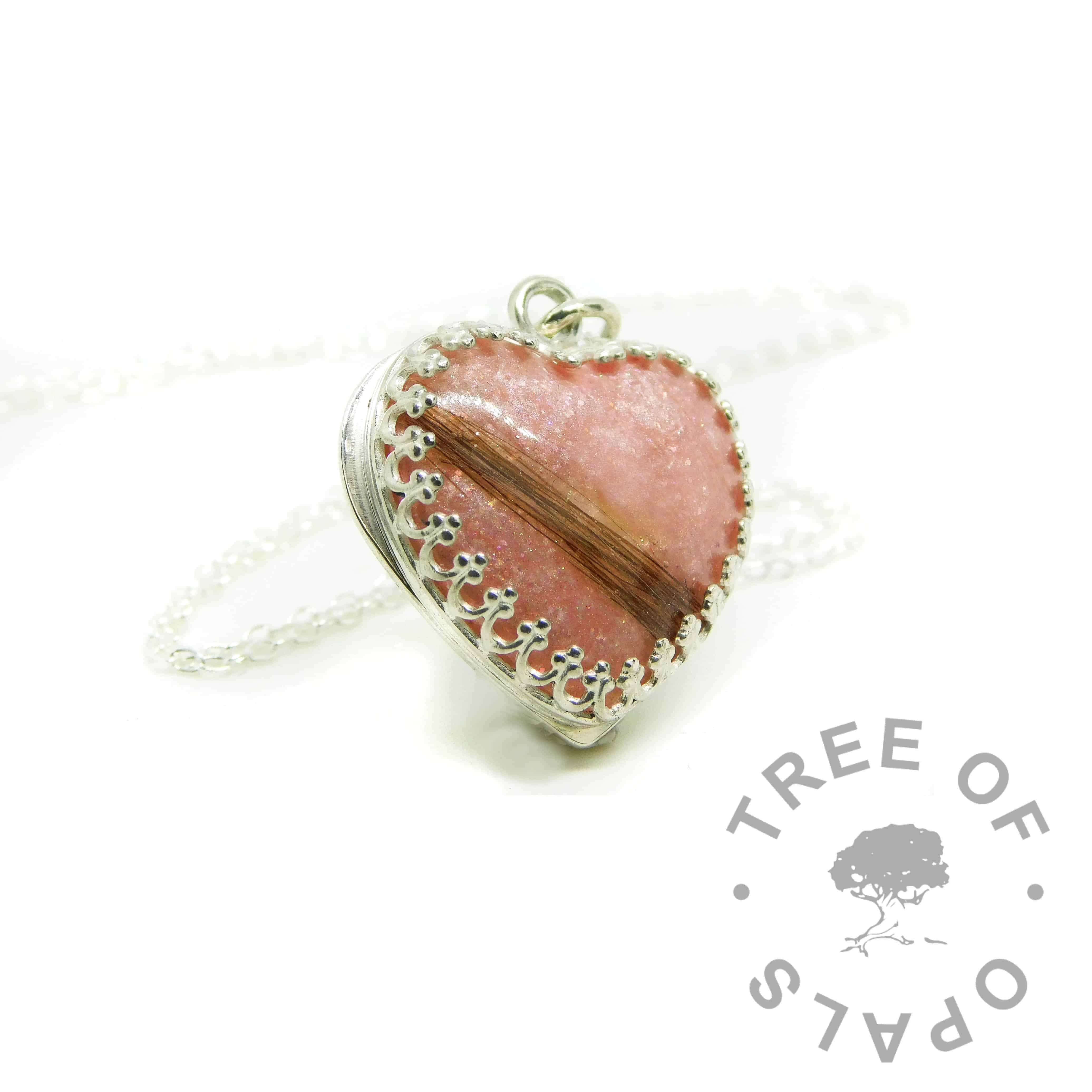 pink hair heart, lock of hair heart with Fairy Pink Resin Sparkle Mix