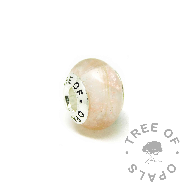 pink horse hair charm bead for Pandora bracelets, fairy pink resin sparkle mix