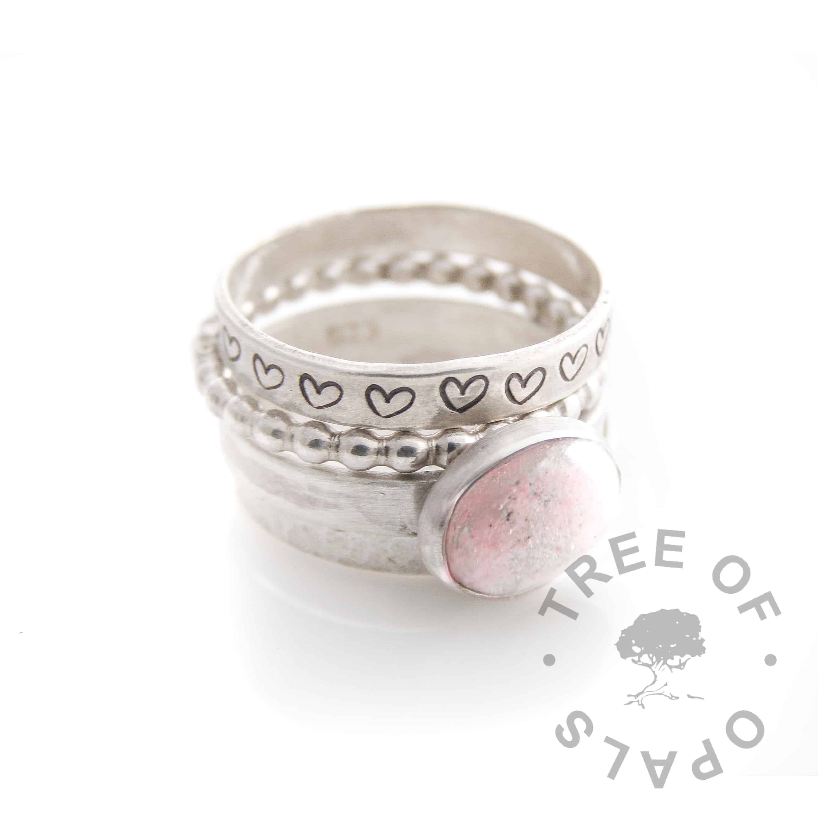 pink and diamond powder cremation ash ring stack, bubble wire, textured and heart stackers, handmade solid silver stacking rings Tree of Opals