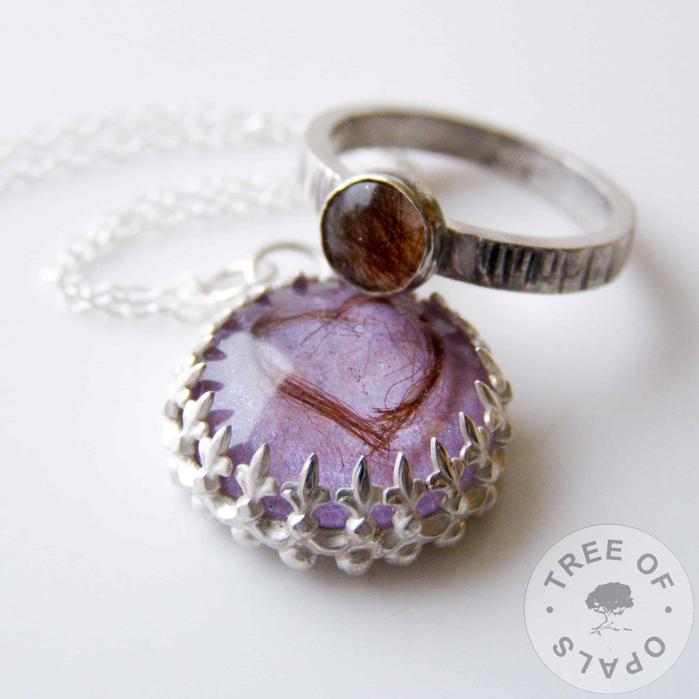 resin lock of hair necklace and stacking ring family order with lilac shimmer backgrounds, ring is 6mm round bezel set cabochon with tree bark stacking ring setting