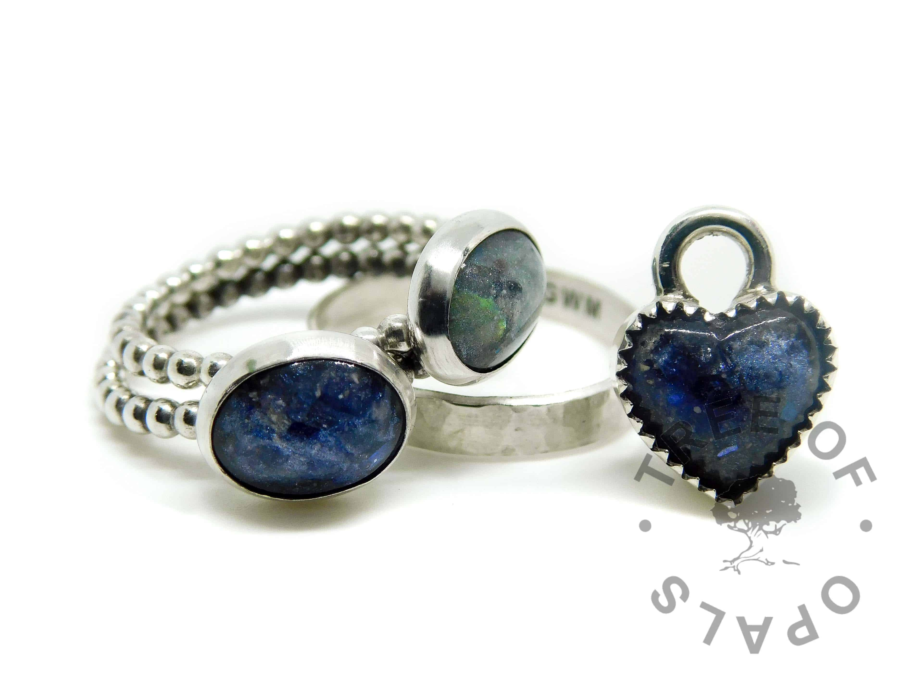 bubble wire ash rings with Aegean blue and mermaid teal sparkle mix, engraved textured ring and heart ash charm
