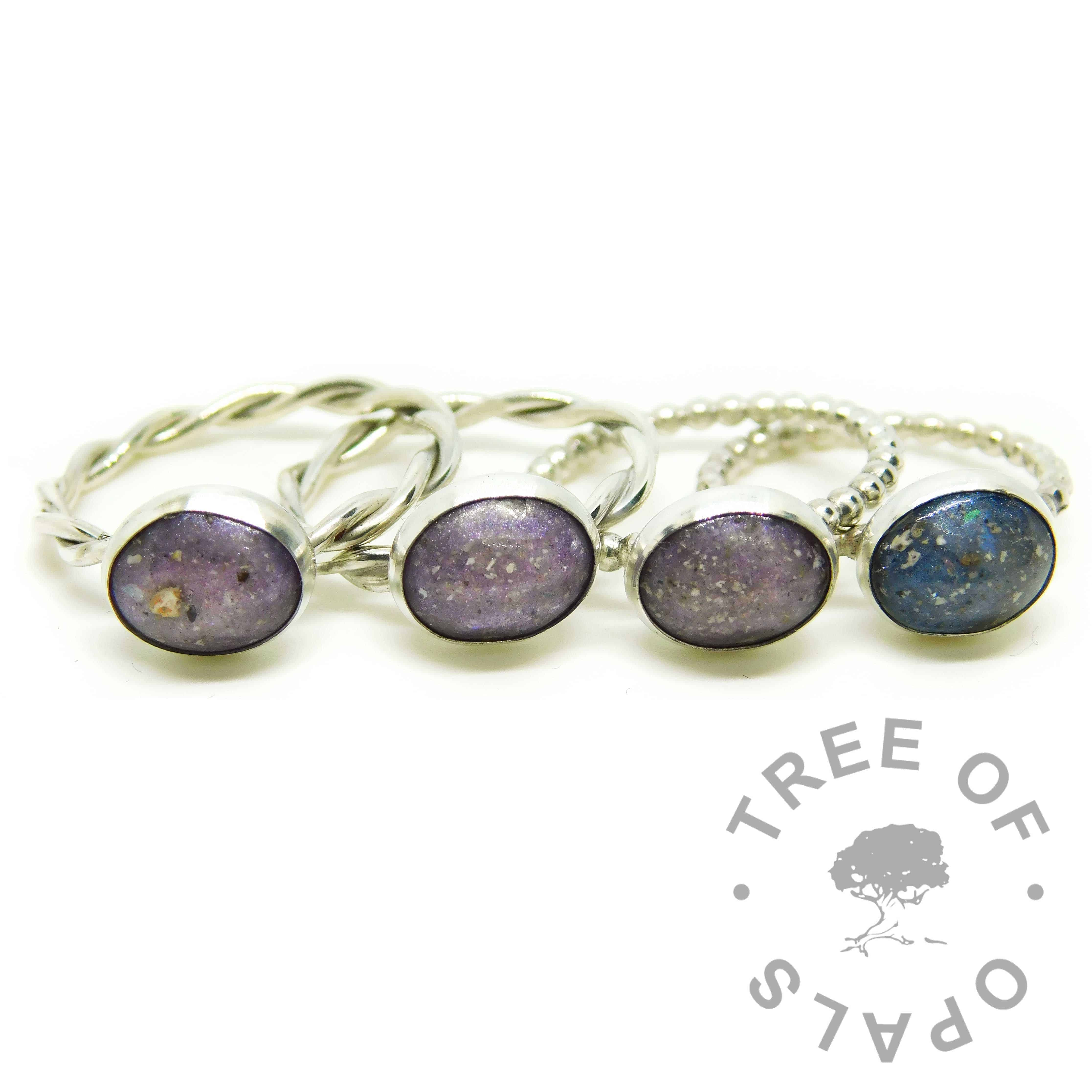 cremation ash ring family order, four ash rings on silver bands