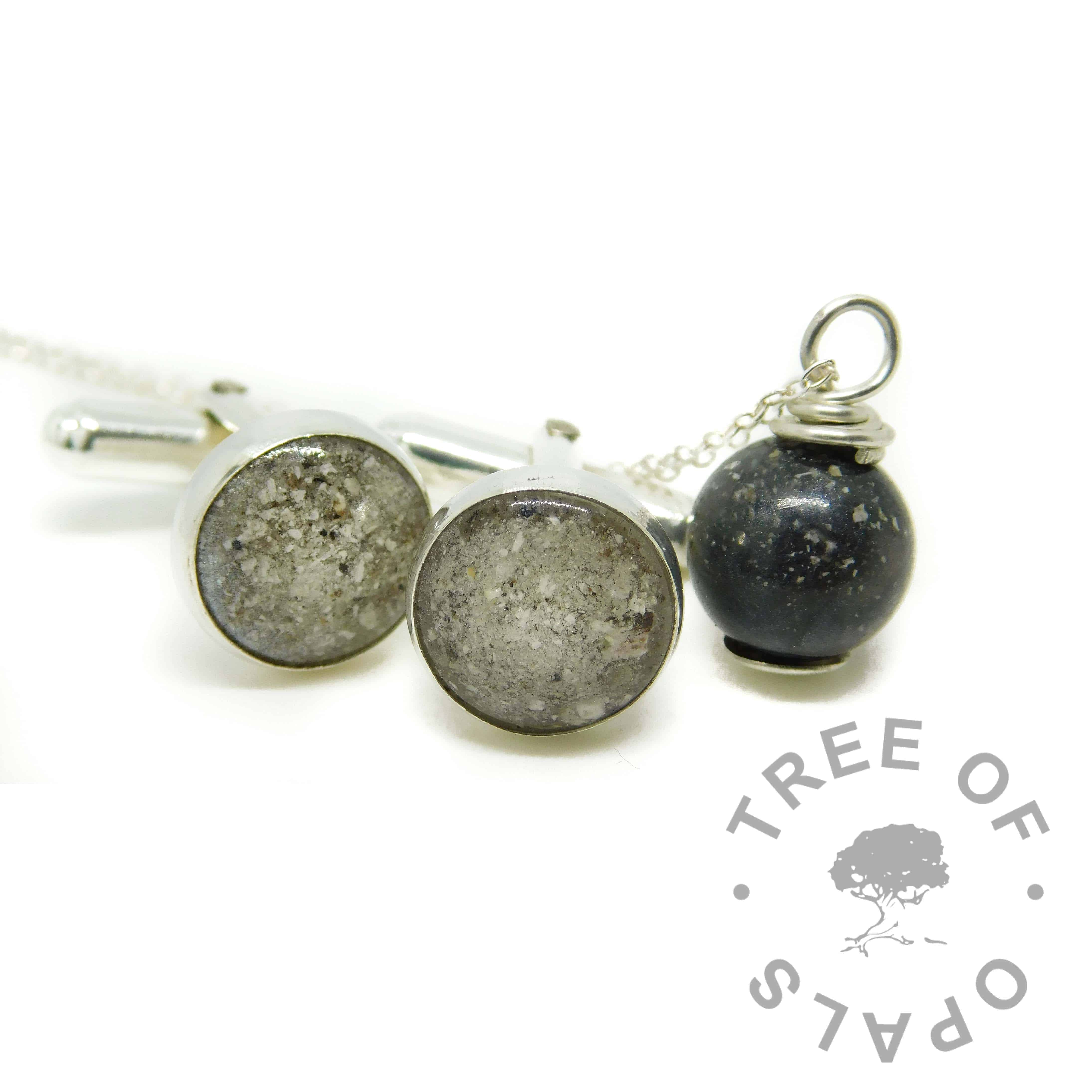 diamond powder April birthstone and cremation ashes cufflinks and black resin ashes pearl necklace - family order