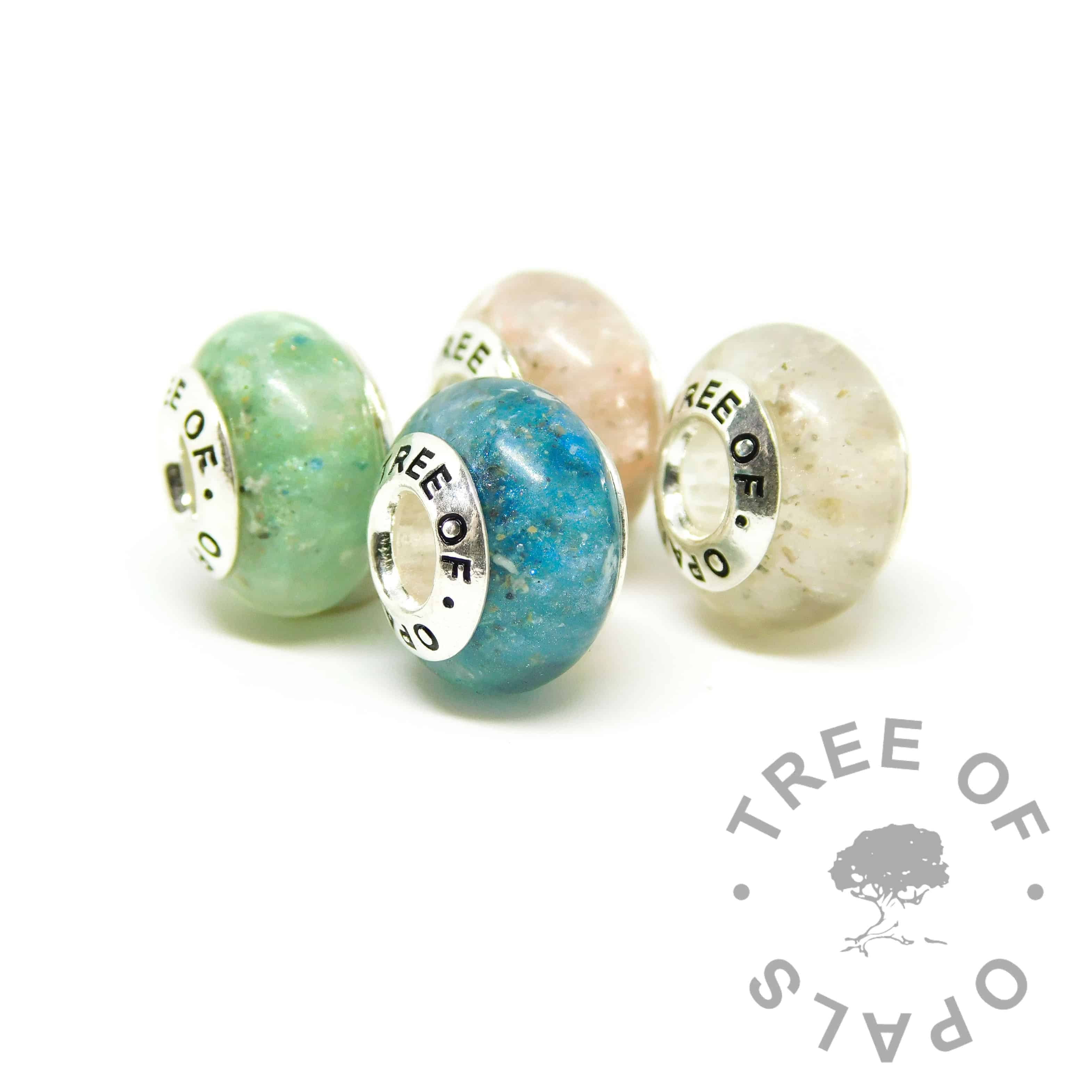 ashes jewellery charms - set of four resin charm beads in aqua, blue, pink and classic ashes
