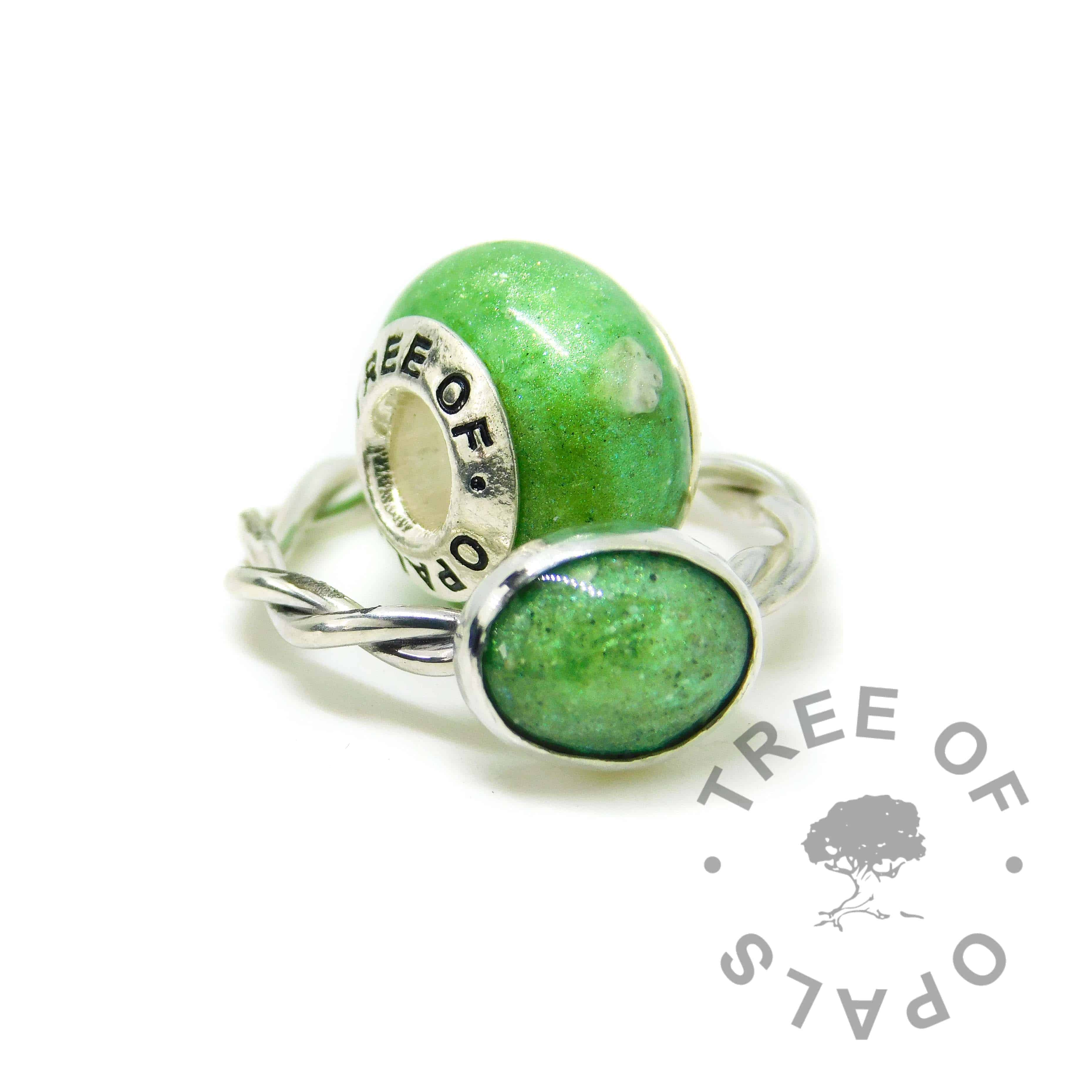basilisk green sparkles ashes charm and ring, cremation ash, no birthstone