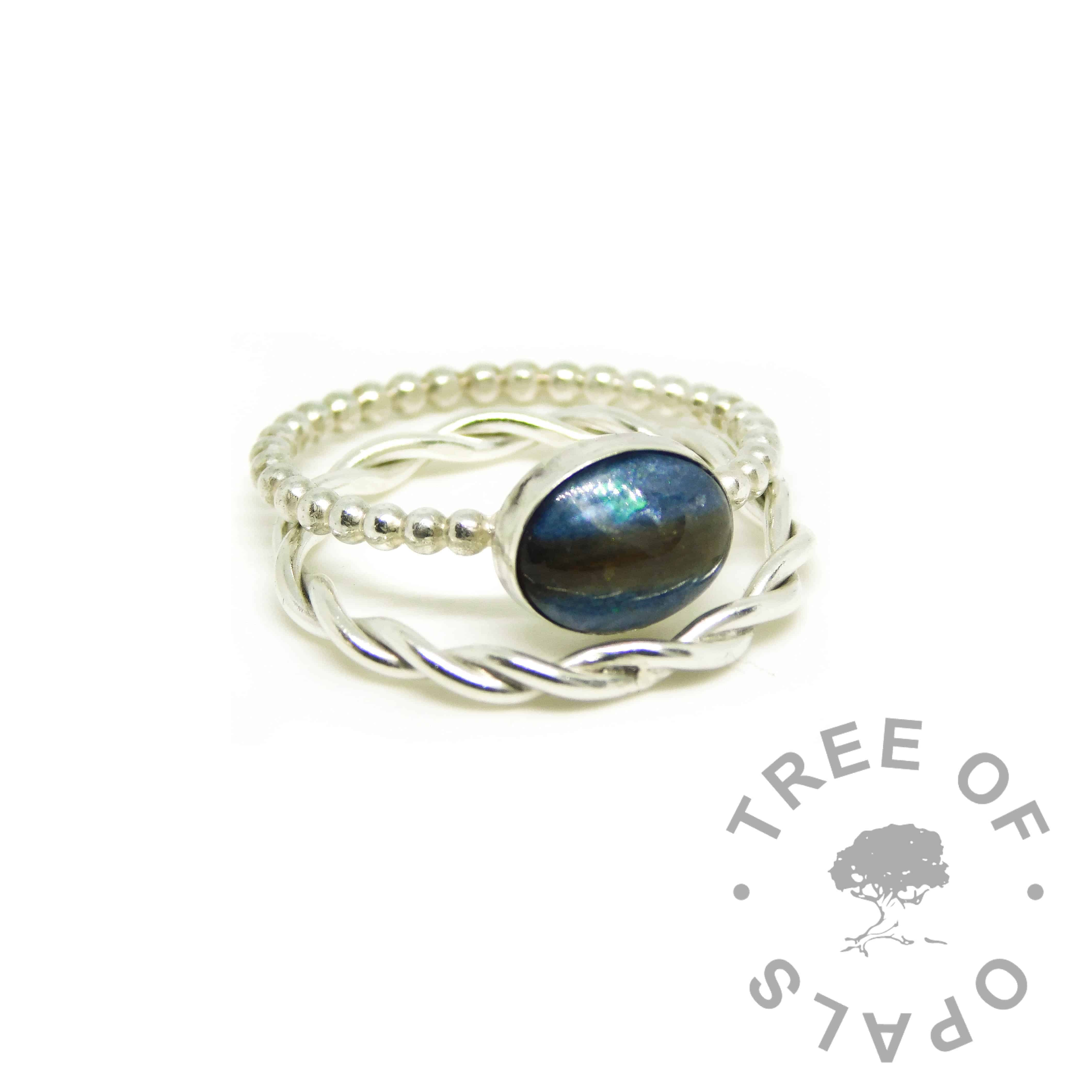 blue hair ring, Aegean blue resin sparkle mix, bubble wire Argentium silver band. Shown with a twisted band slim stacking ring