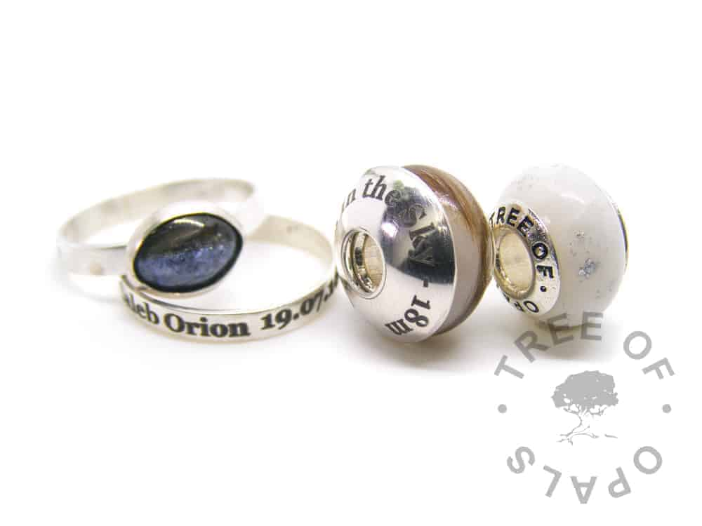 lock of hair breastmilk family order, laser engraved rings and charms with a laser engraved washer