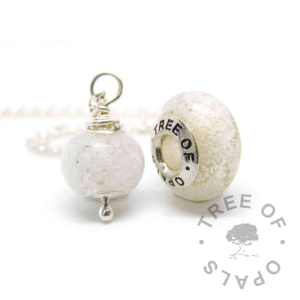 clear glass cremation necklace and charm family order