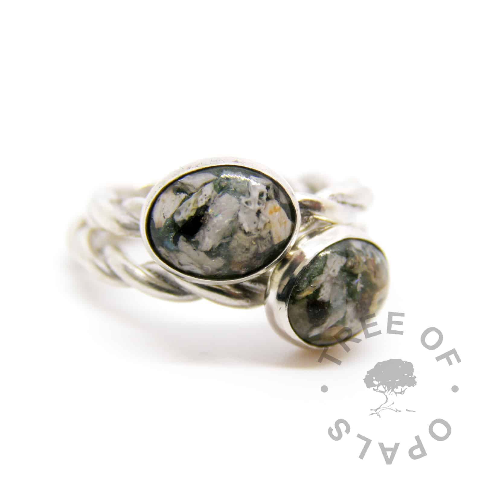 solid sterling silver cremation rings on twisted wire bands, ash rings with basilisk green sparkles and moonstone June birthstone