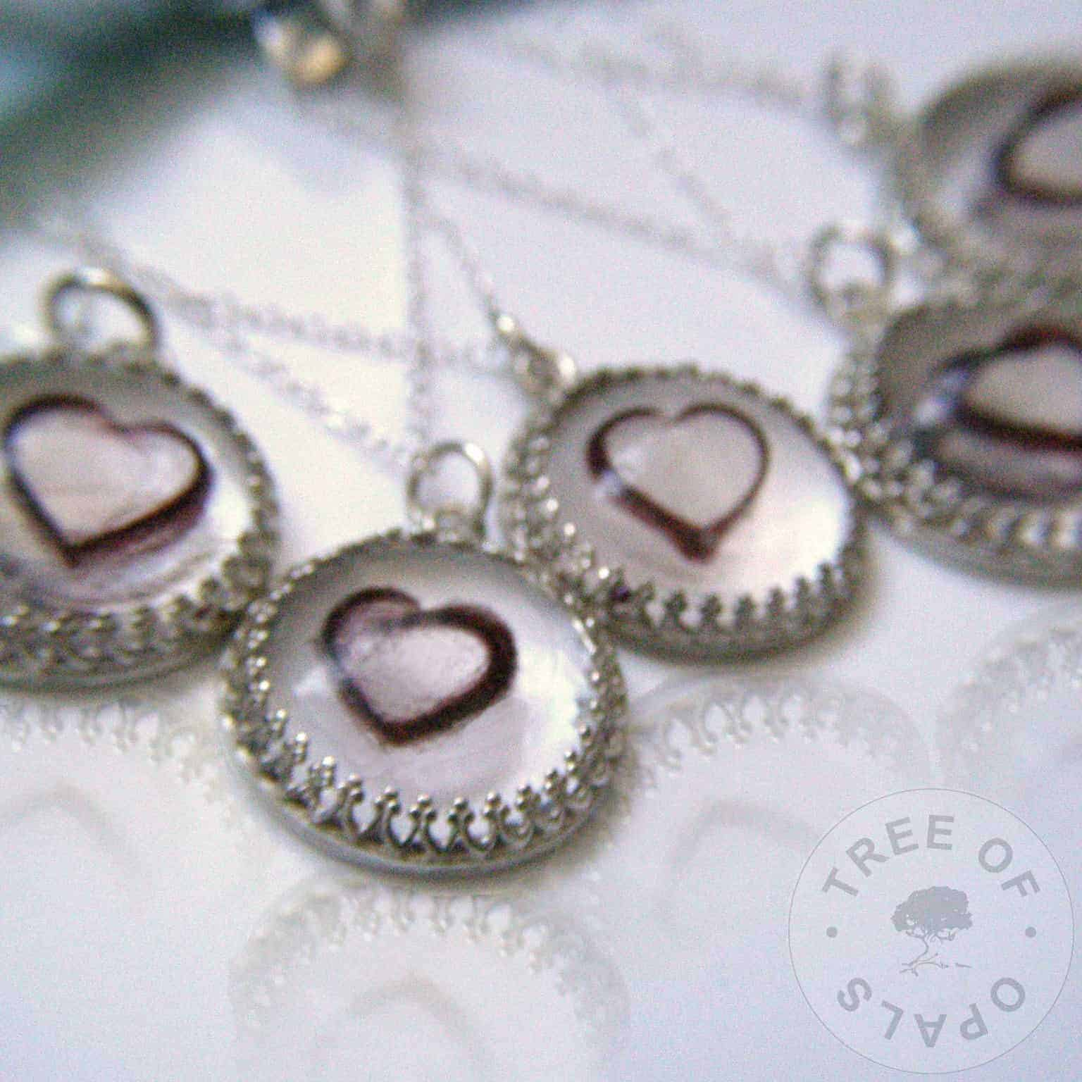 family order lock of hair necklaces with heart shaped hair