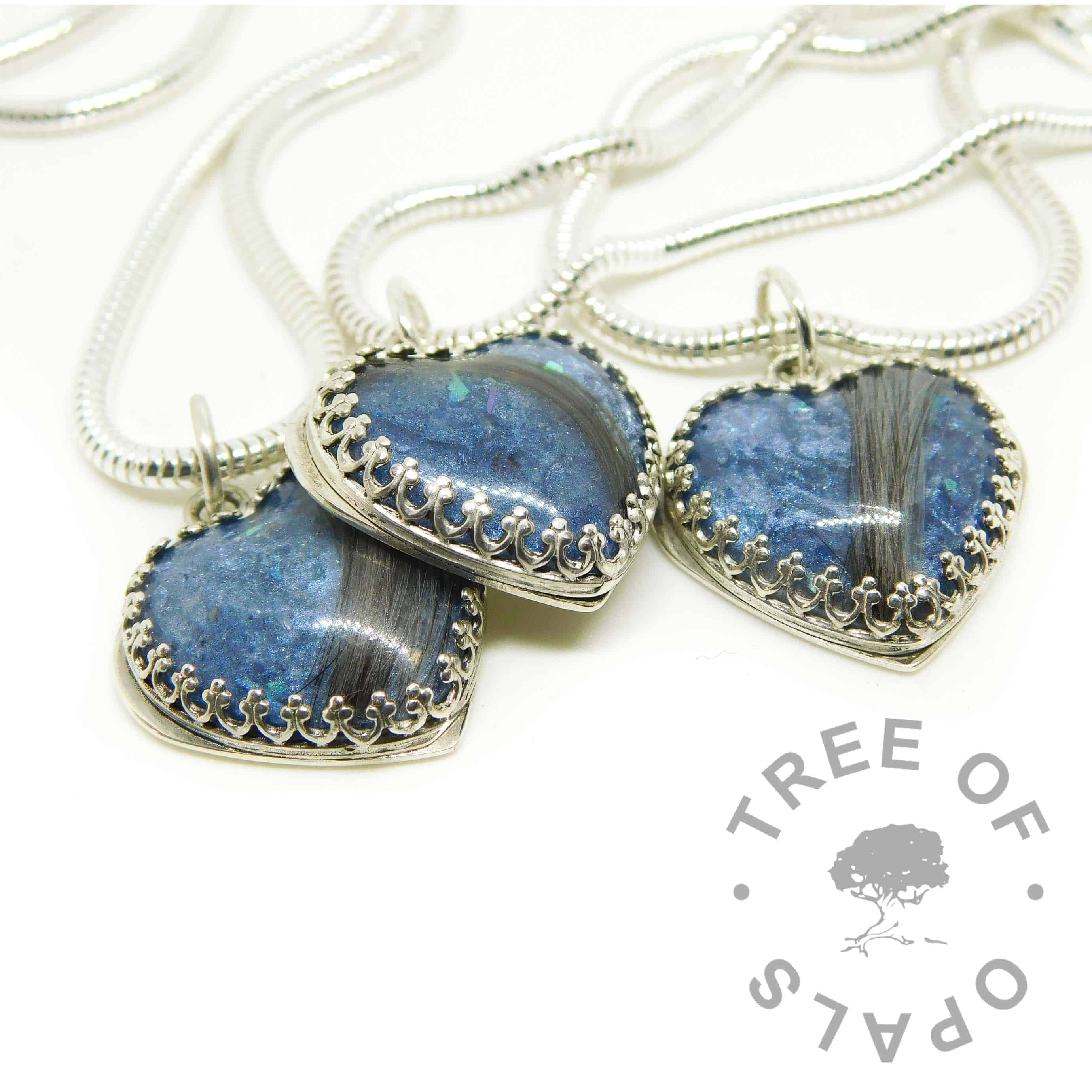 blue hair hearts with brown hair with some grey strands. Aegean blue resin sparkle mix. Family order
