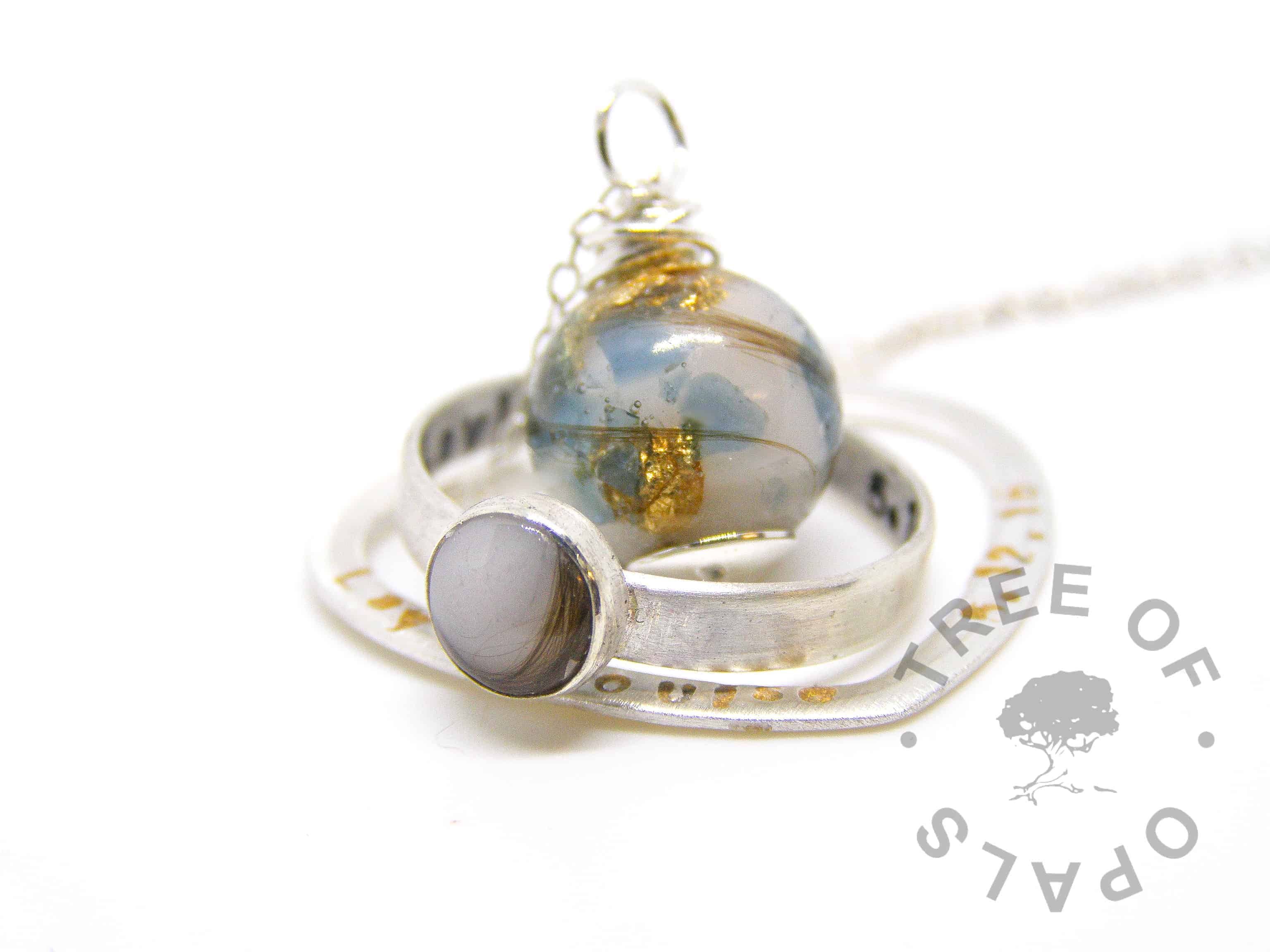 family order with breastmilk and hair, blue topaz and gold leaf