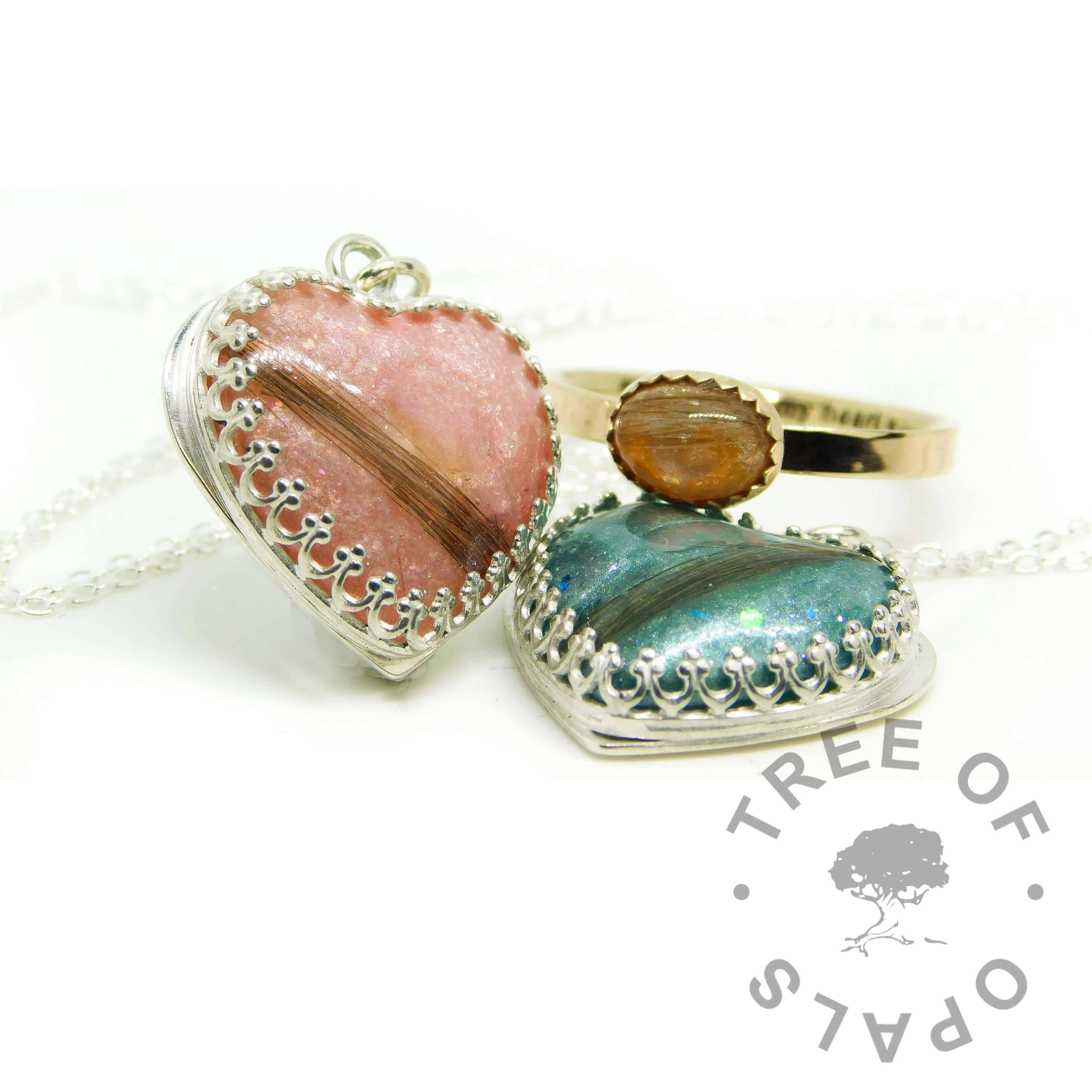 pink and teal hair hearts, lock of hair hearts with Fairy Pink and Mermaid Teal Resin Sparkle Mixes, solid 14ct gold hair ring Tangerine Orange