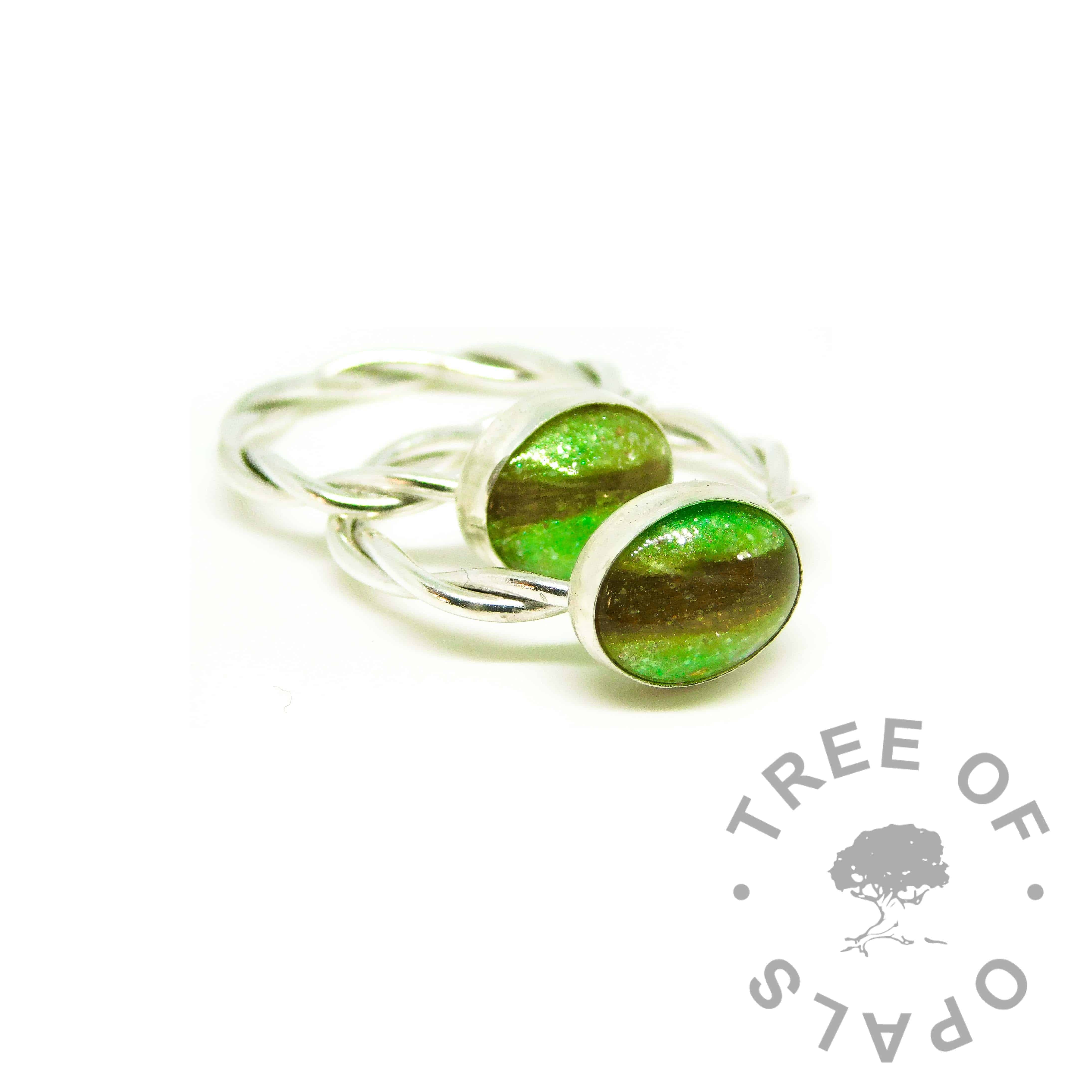 green hair ring duo, basilisk green resin sparkle mix, twisted wire Argentium silver bands