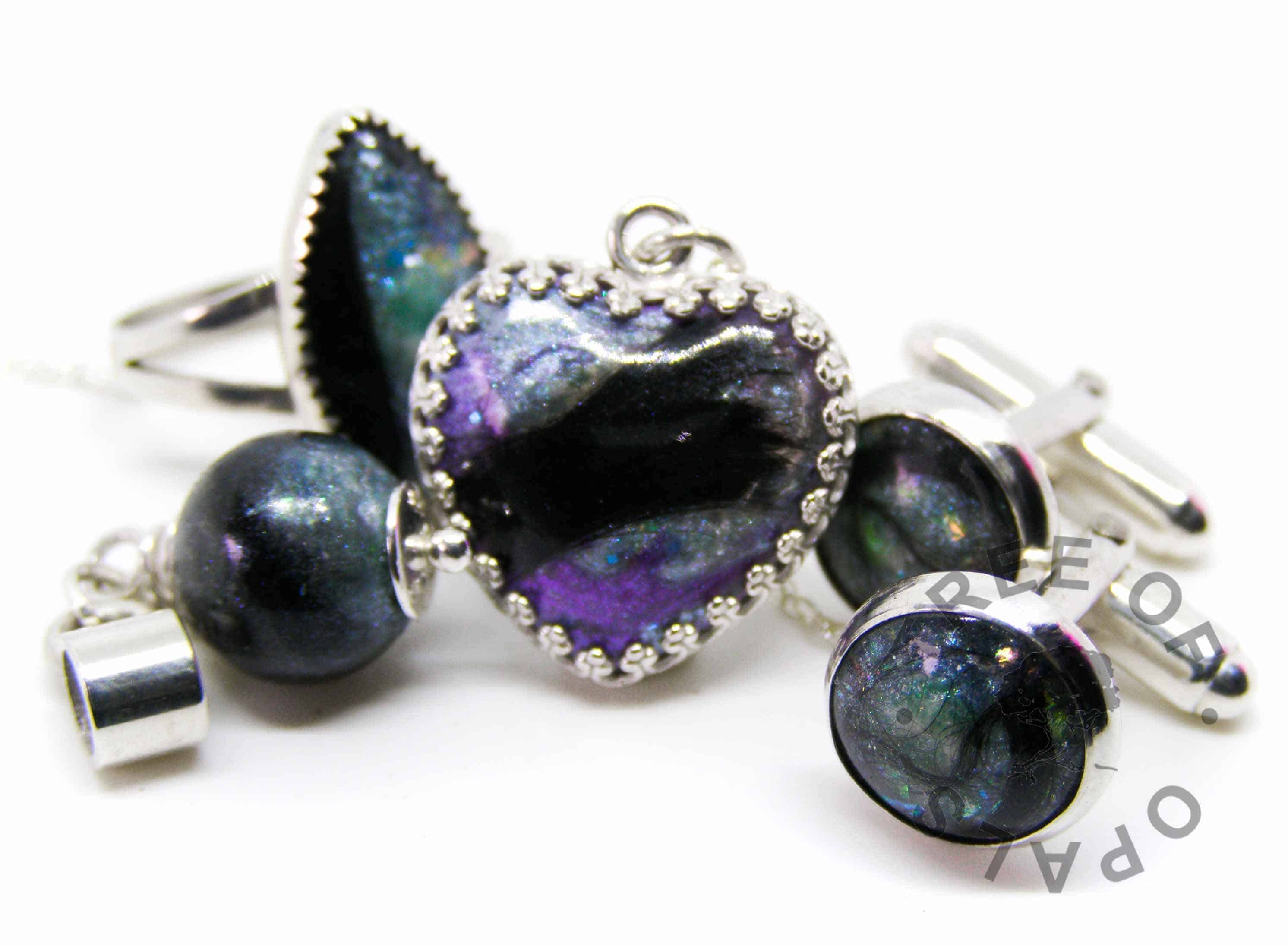 lock of hair family order mermaid teal and a little deep purple. Pearl, marquise ring, heart necklace and cufflinks