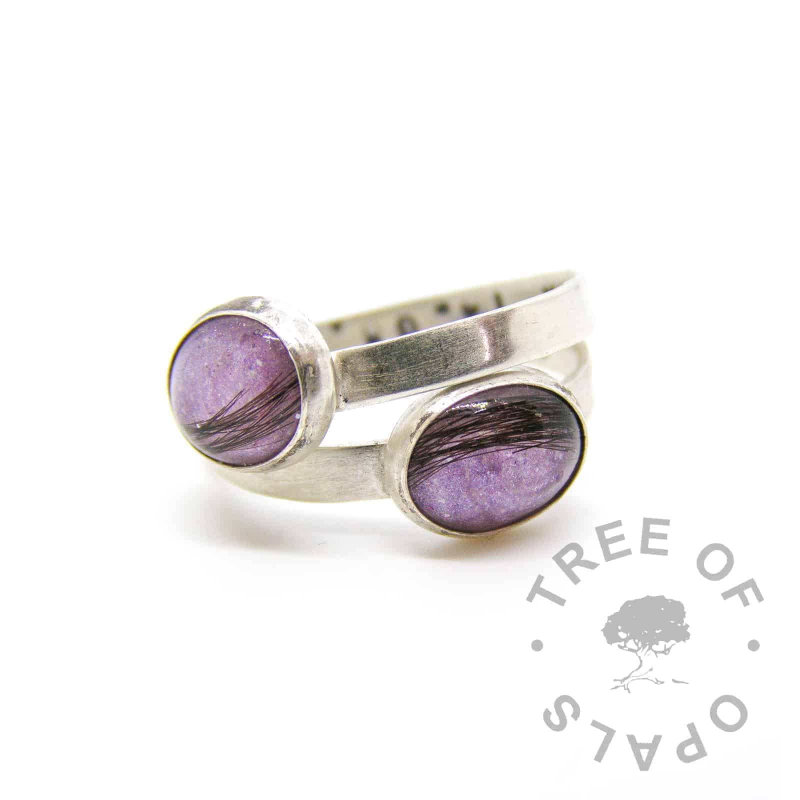 lock of hair rings with orchid purple sparkle background galaxy effect, brushed solid sterling silver band and stamping