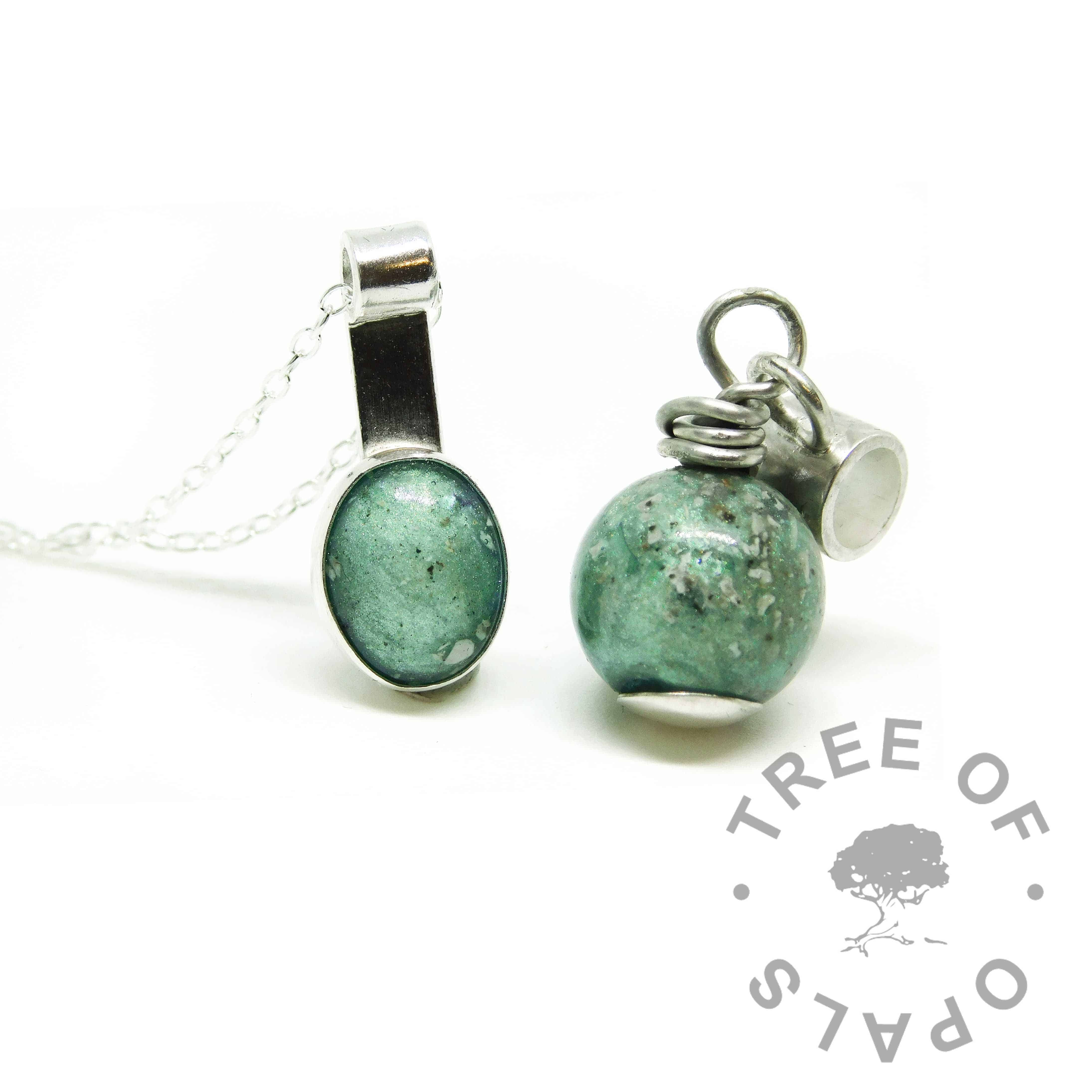 European setting charm tube dangle charm and mystery piece. Cremation ashes pearl with Angelic Aqua Resin Sparkle Mix