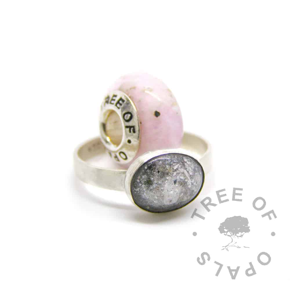 pink glass cremation charm and white cremation ash ring family order, set with solid sterling silver