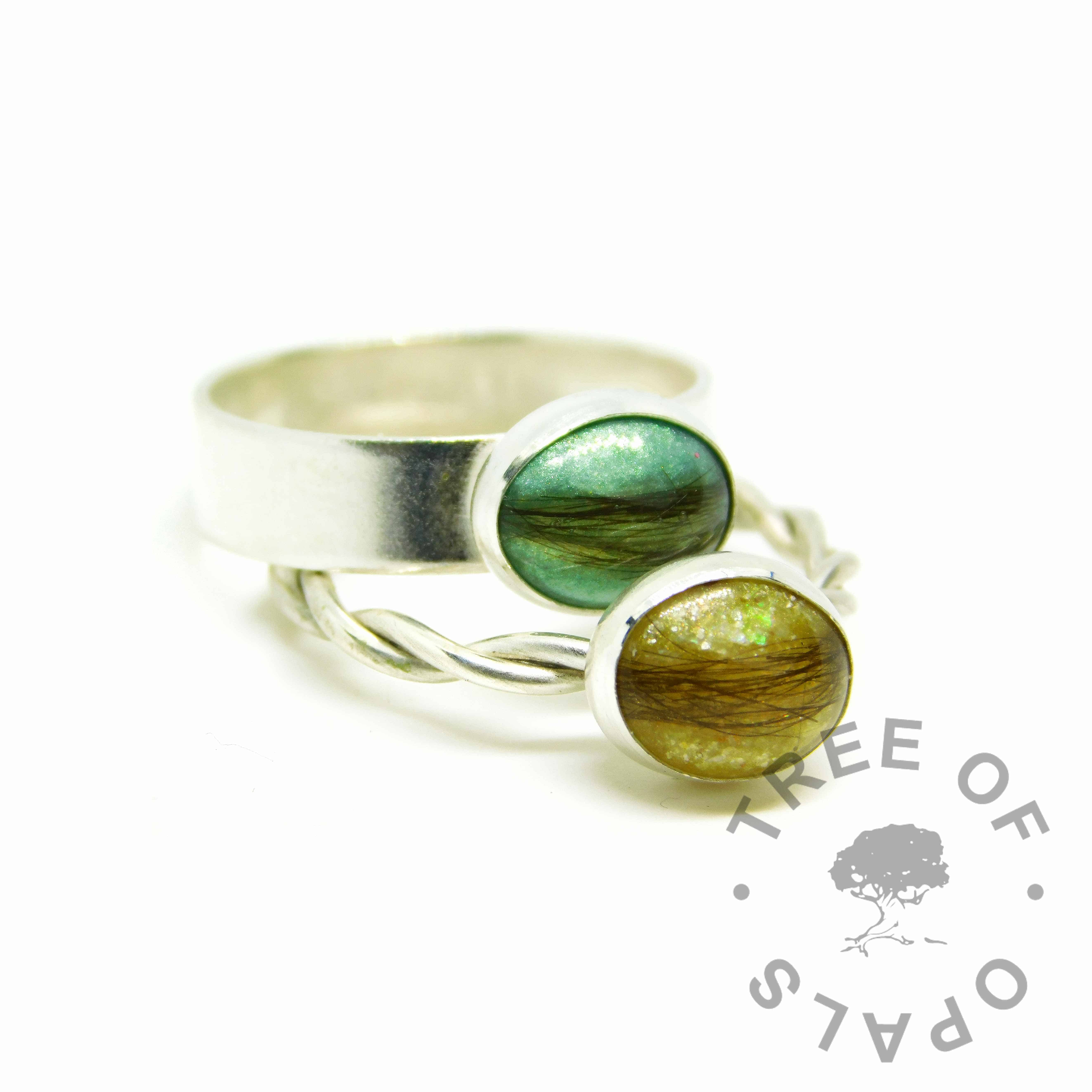 aqua and yellow hair rings, angelic aqua and chimera yellow resin sparkle mixes, 6mm shiny and twisted Argentium silver bands