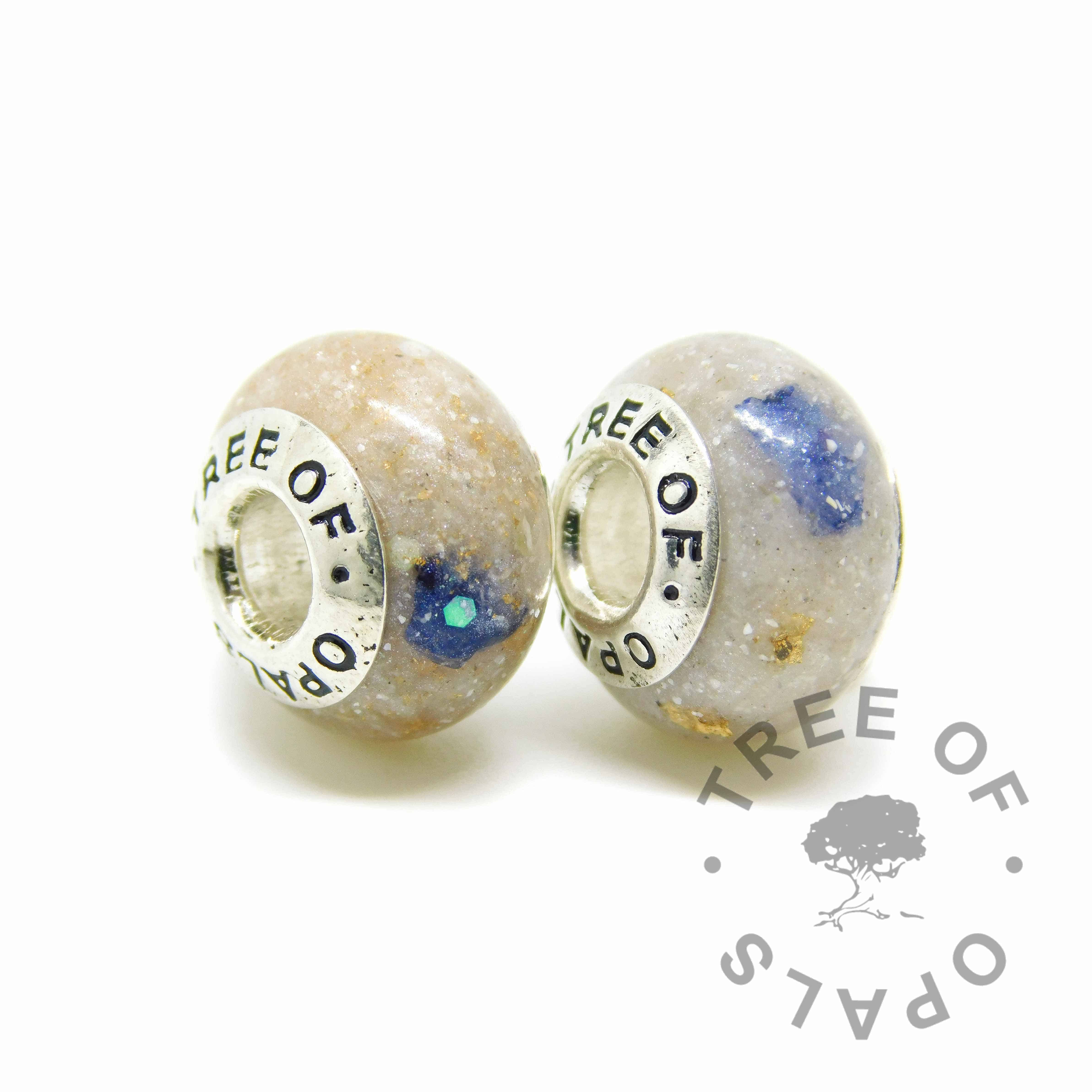 Cremation ash charm duo beads with September birthstone sapphire, rose gold leaf and unicorn white resin sparkle mix