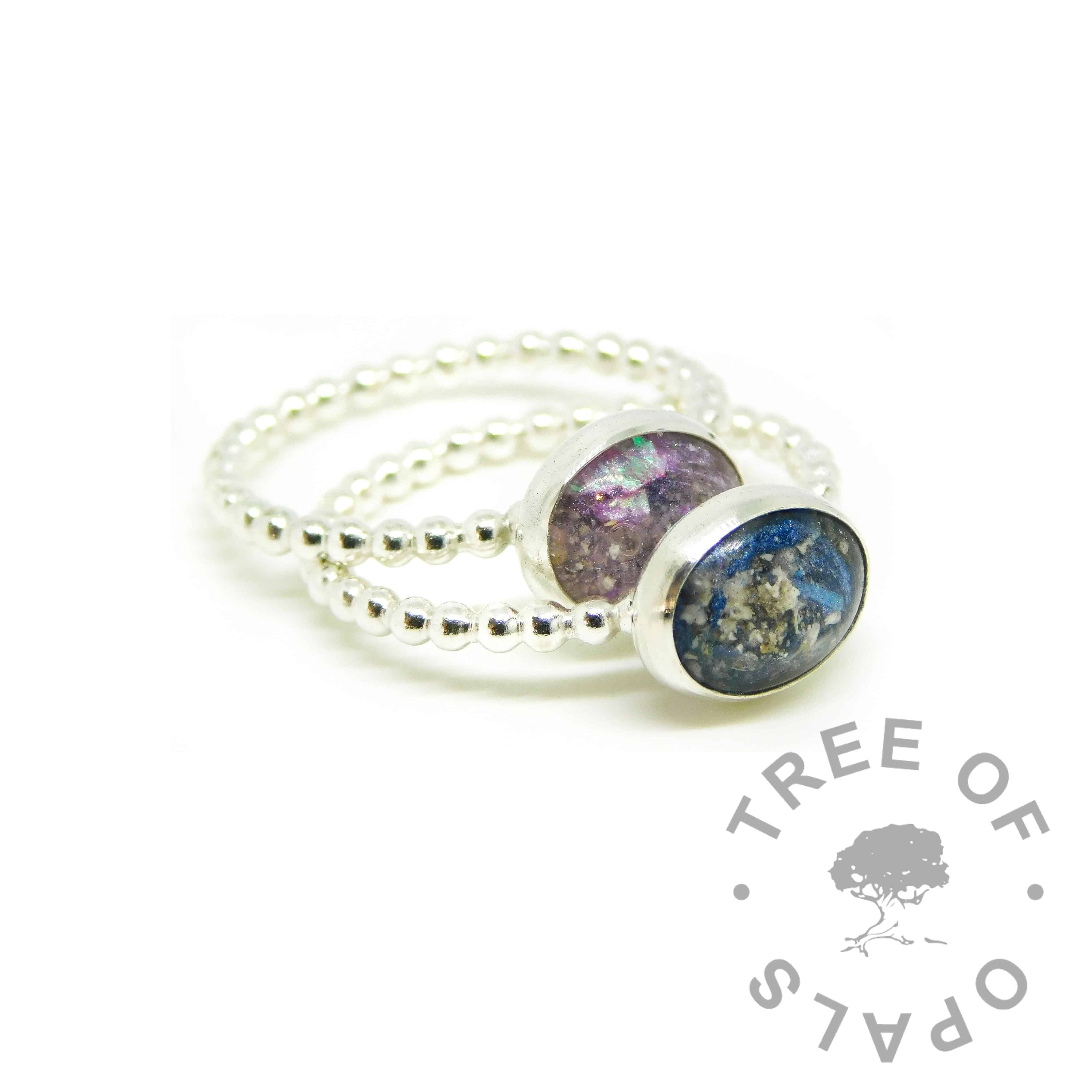 blue and purple ashes rings, Aegean blue and orchid purple resin sparkle mix, bubble wire Argentium silver bands