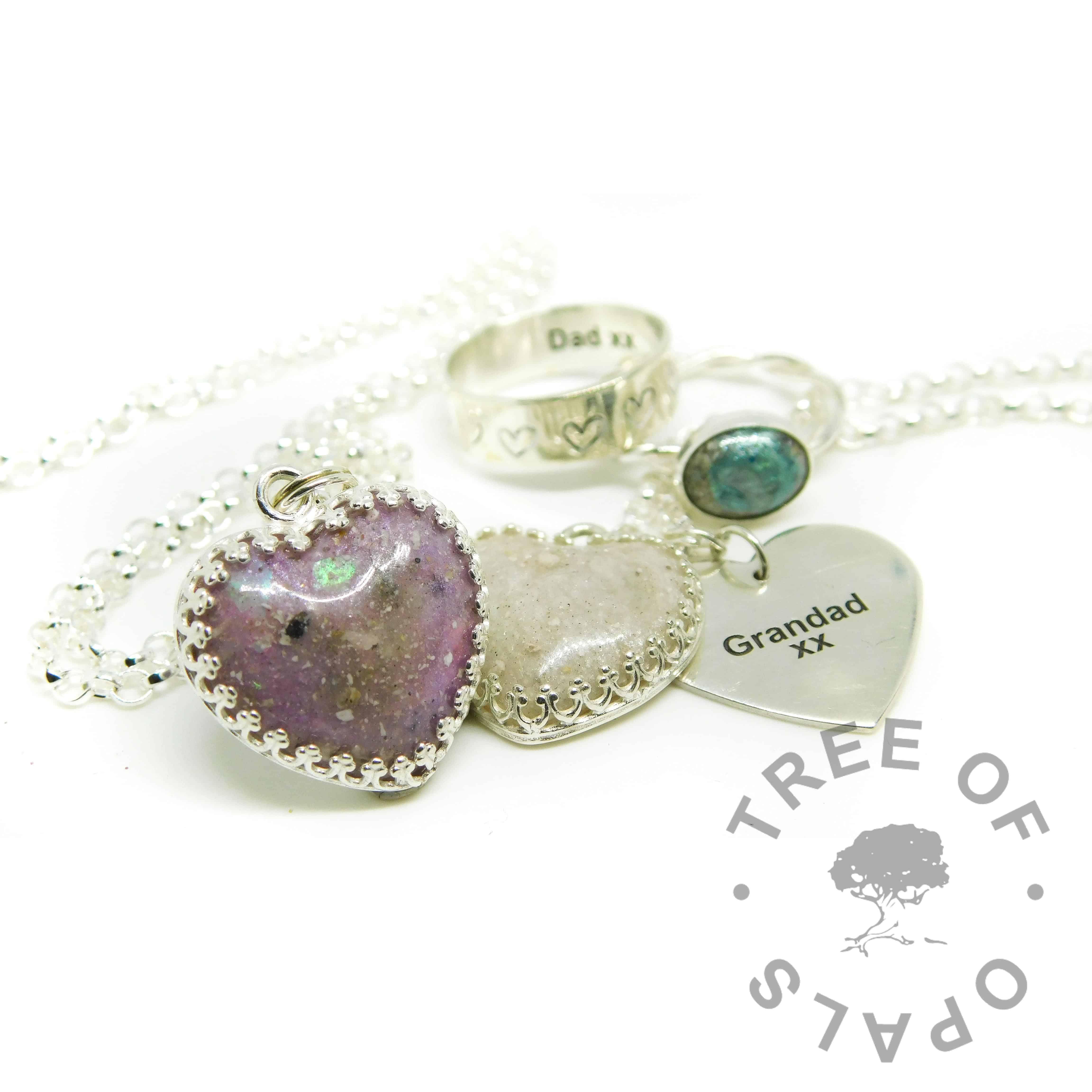 cremation ashes hearts and rings with engraving