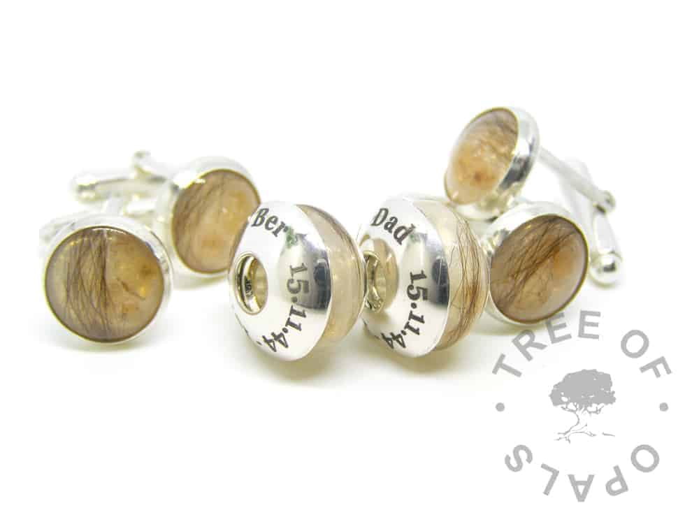 yellow topaz lock of hair family order with two sets of cufflinks and charm duo with two laser engraved charm washers