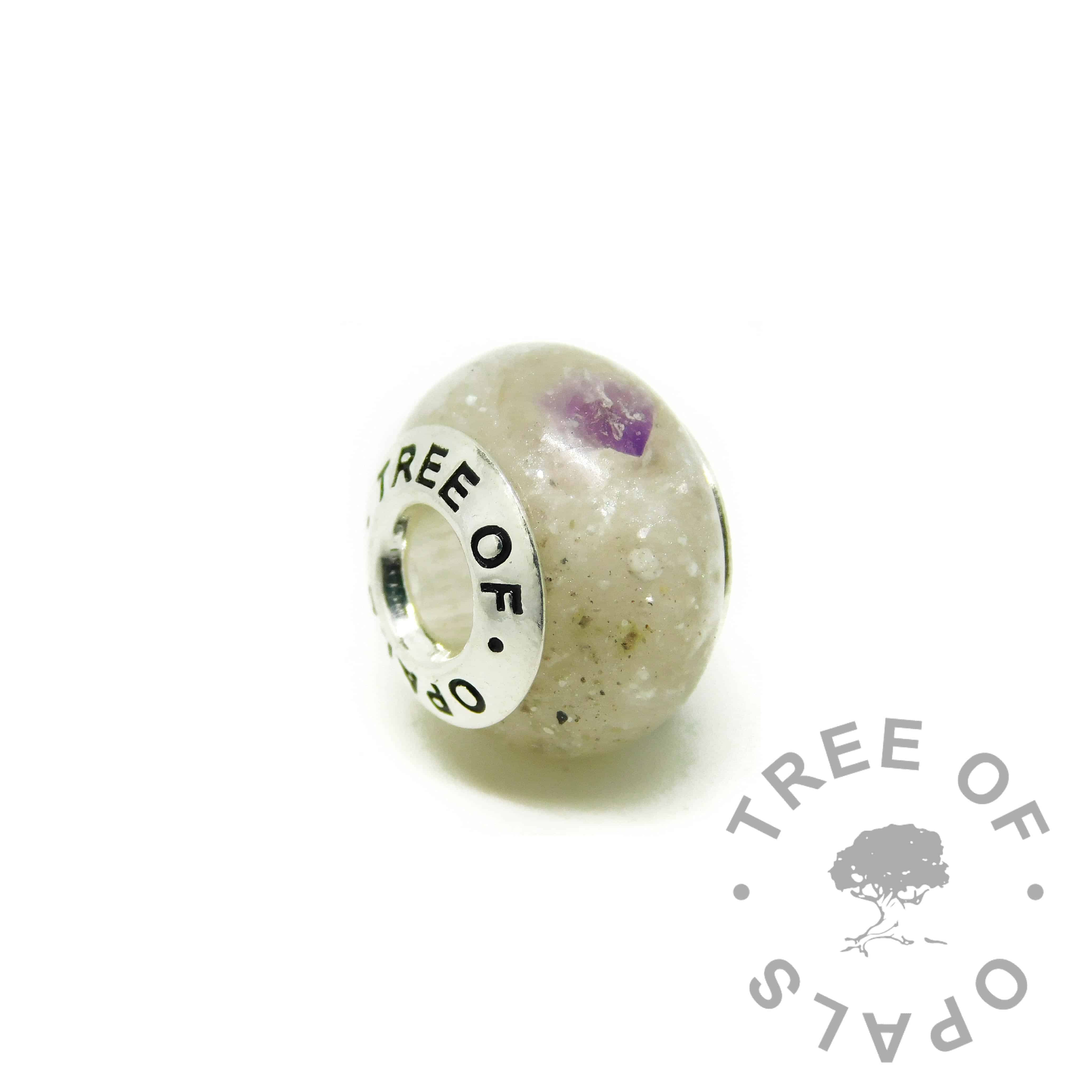 cremation ash charm unicorn resin sparkle mix, amethyst February birthstone addition. ashes charms with solid silver cores