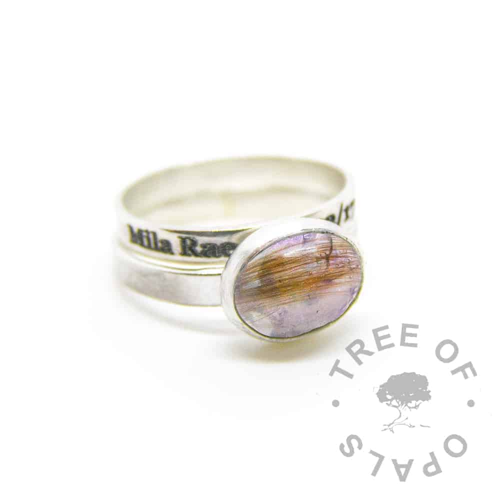 February birthstone amethyst and lock of hair ring and engraved stacking ring in solid sterling silver with brushed bands Tree of Opals. Engraved outside Times New Roman