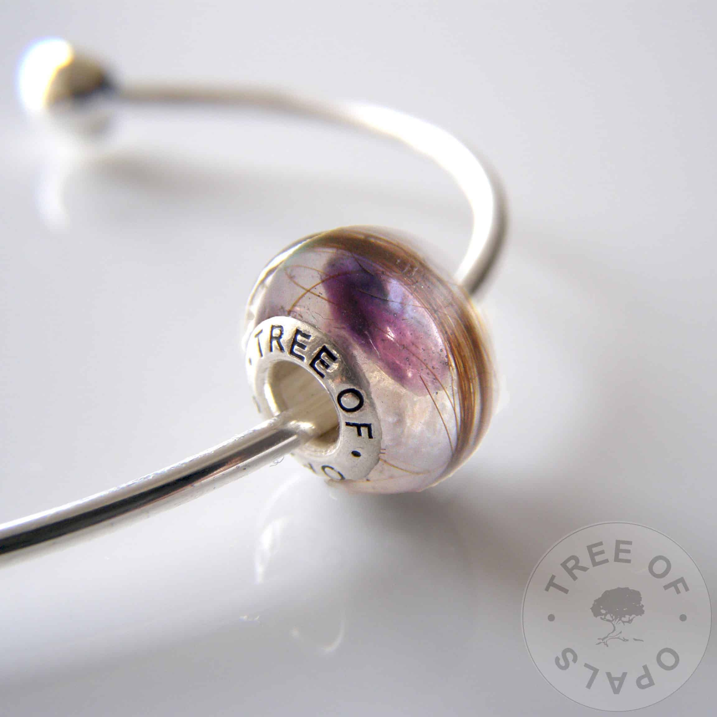 Lock of hair charm bead for Pandora bracelets with amethyst February birthstone - mockup