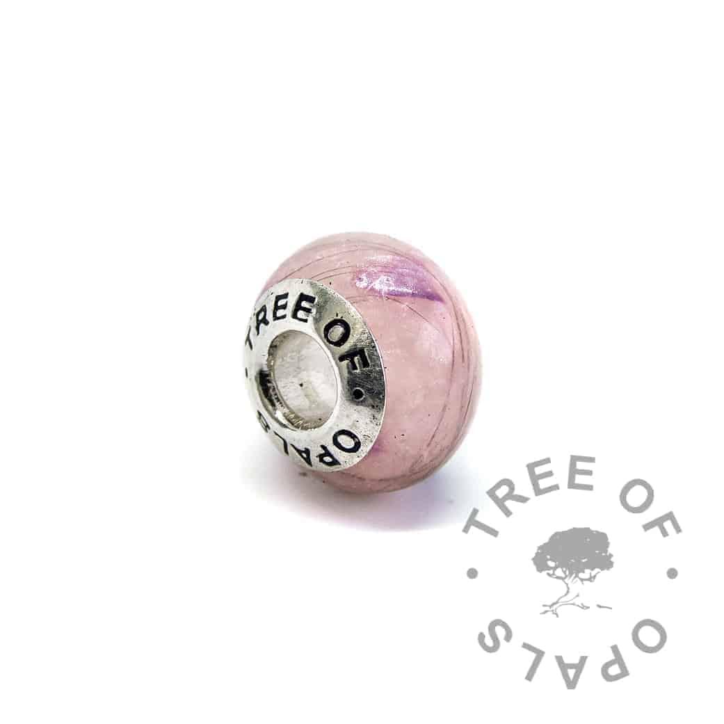 pink charm amethyst February birthstone lock of hair