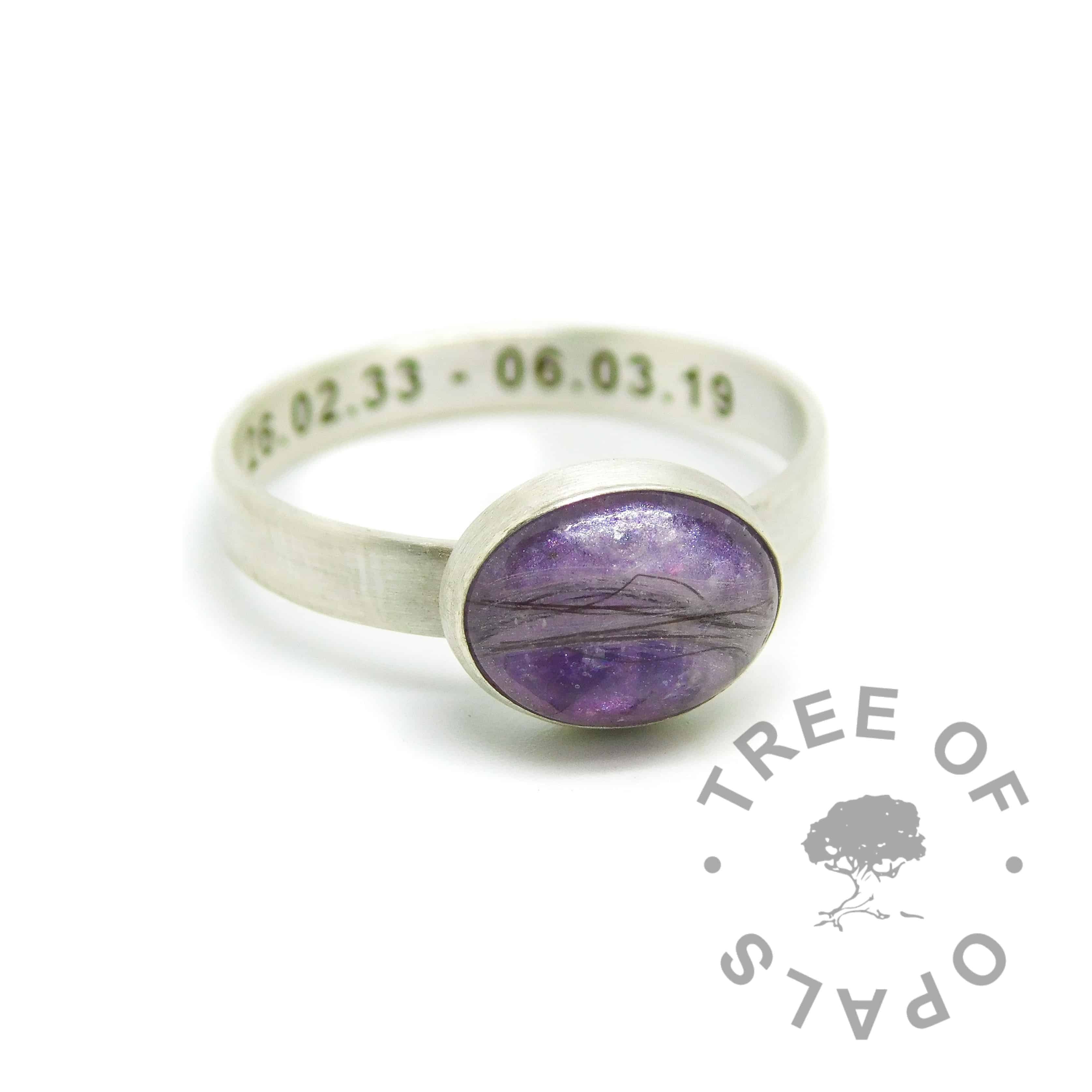 lock of ring with orchid purple resin sparkle mix, rough natural amethyst February birthstone. Handmade 3mm brushed engraved EcoSilver ring shank, 10x8mm bezel cup. Watermarked copyright Tree of Opals memorial jewellery image