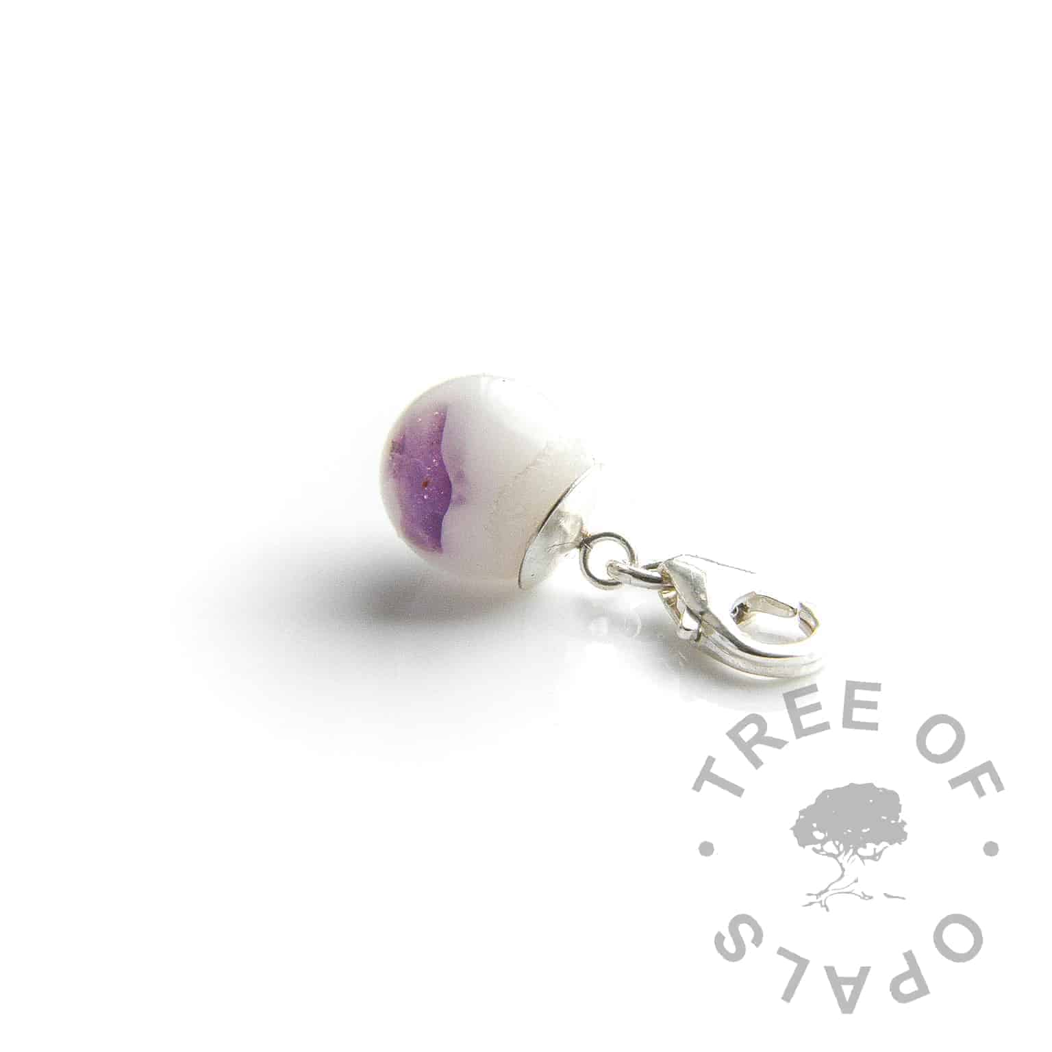 "amethyst breastmilk pearl dangle charm for large link chain bracelets like Thomas Sabo.  Amethyst is the February birthstone and ""we tried our best"" boobie award or for many other reasons"