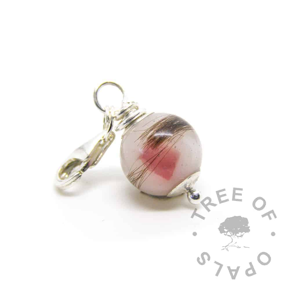 first curl breastmilk ruby pearl dangle charm lobster claw for large link bracelets, classic colour and July ruby birthstone