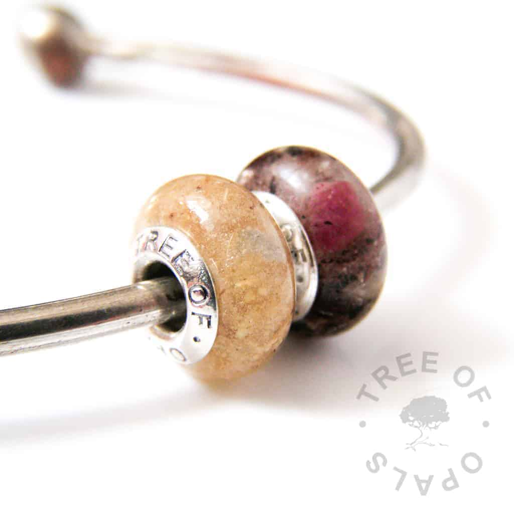 umbilical cord duo with snow diamond (April birthstone) and ruby (July birthstone)